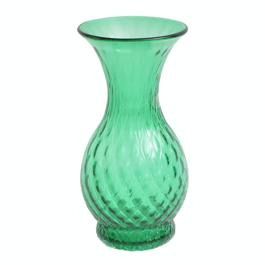 Blenko Green Glass Vase Ebth