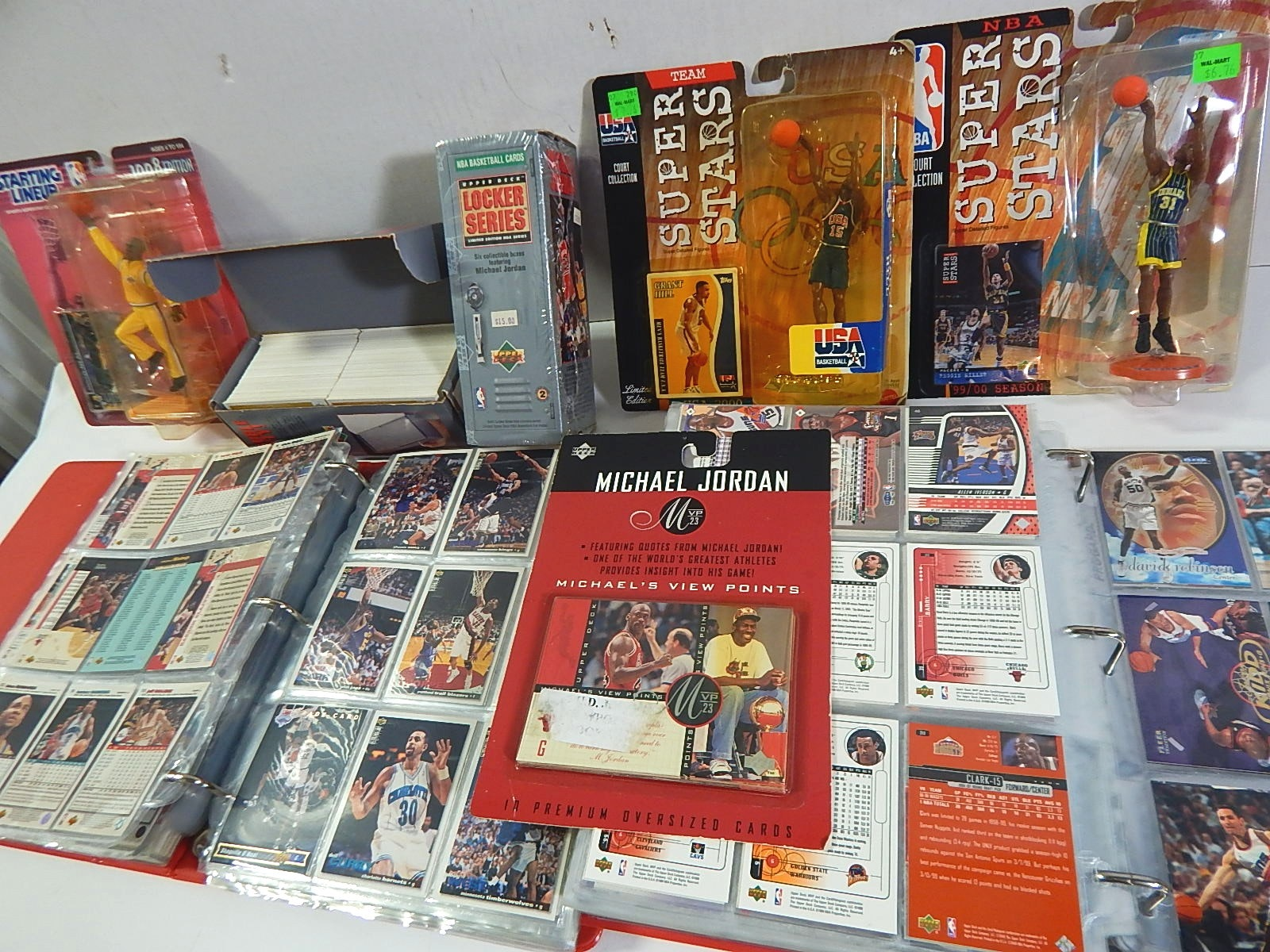 Two Albums of Basketball Cards with Stars, Rookies, HOF, and Action Figures