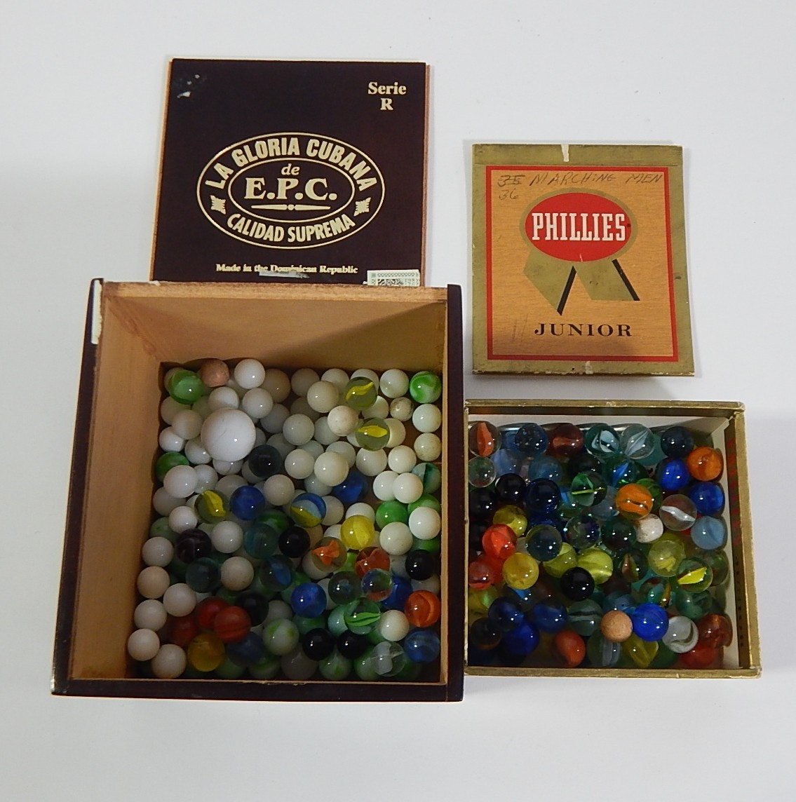 Over 200 Vintage Glass Marbles in Cigar Boxes