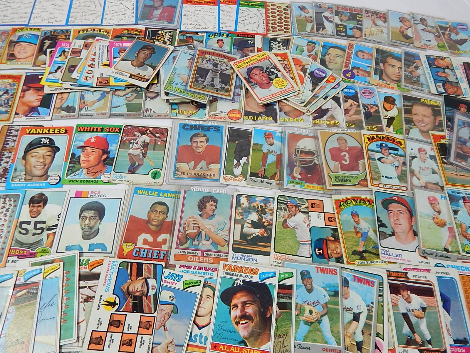 1960s and 1970s Baseball and Football Card Lot - Over 130 Card Count