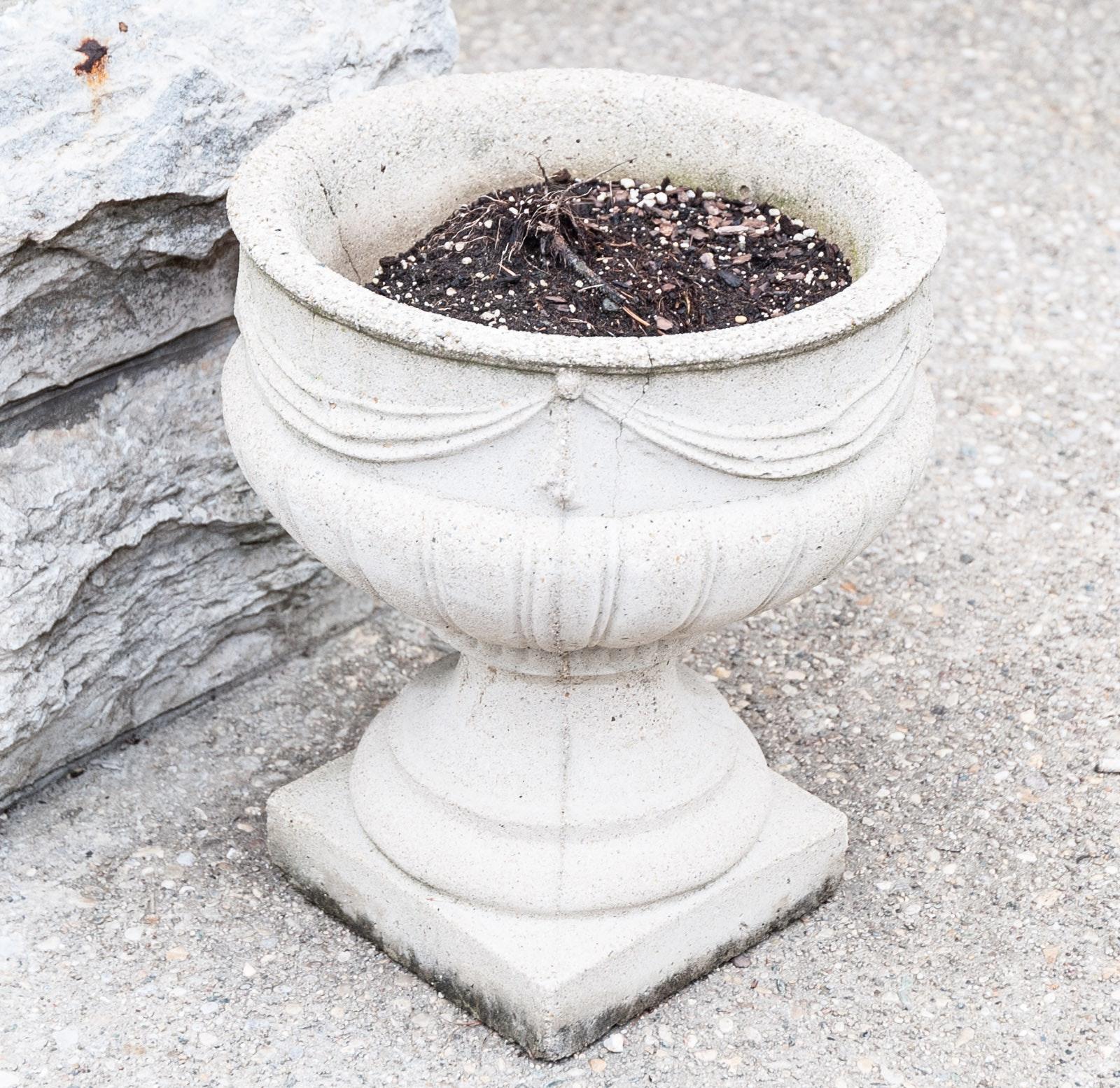 Classically Draped Concrete Planters Set