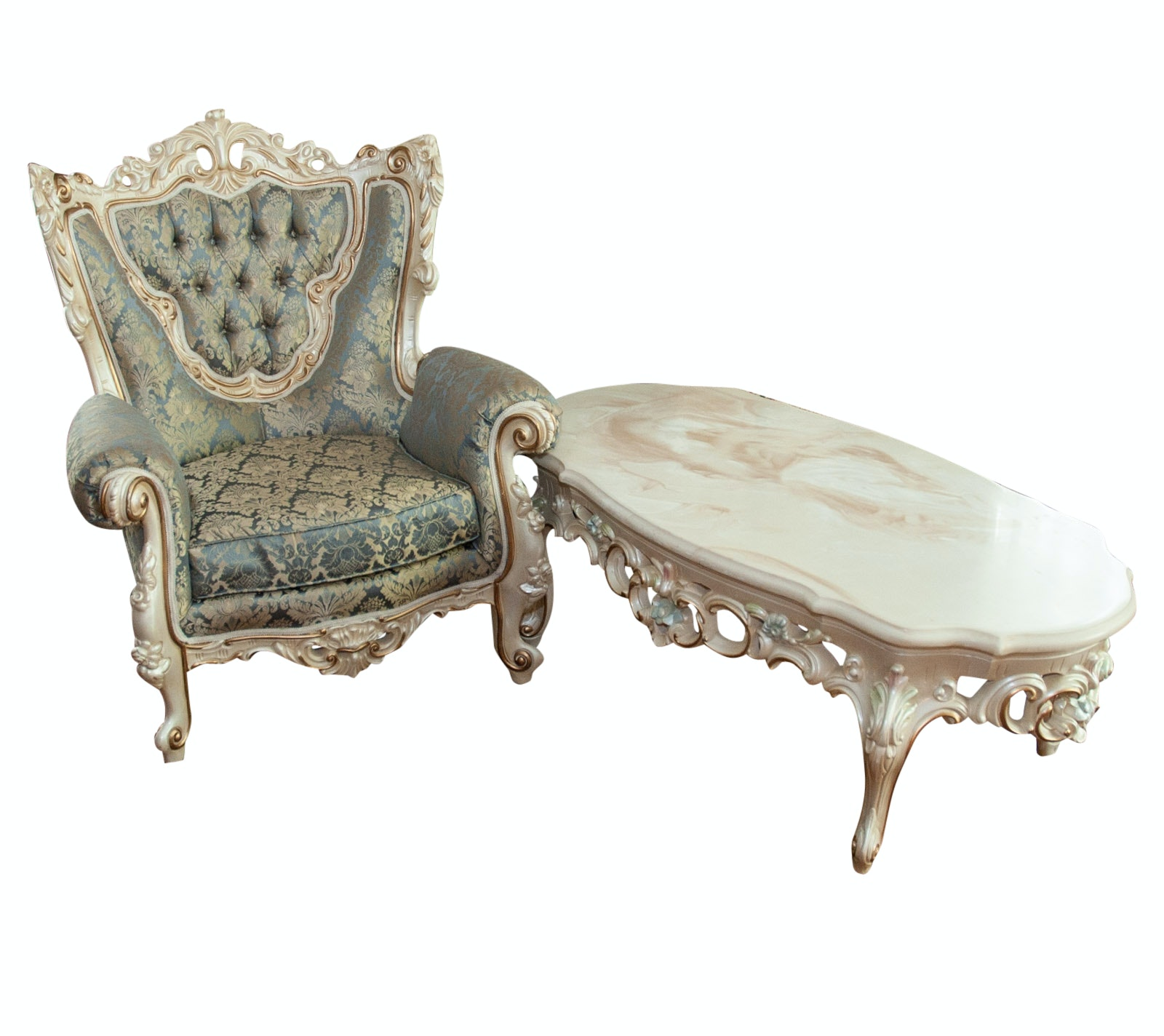 Louis XV Style Chair and Coffee Table