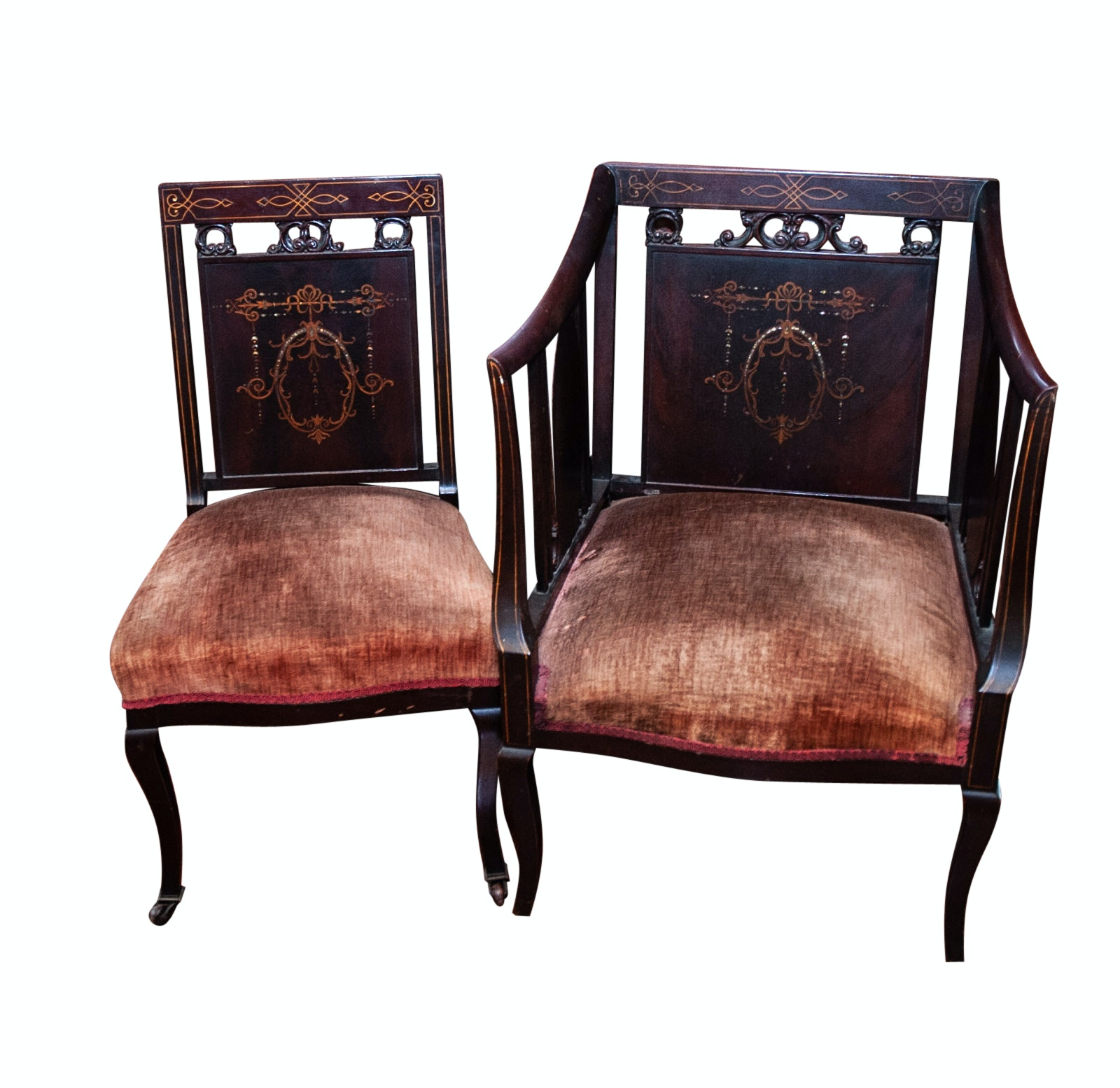 19th Century Regency Style Mahogany Chairs with Marquetry