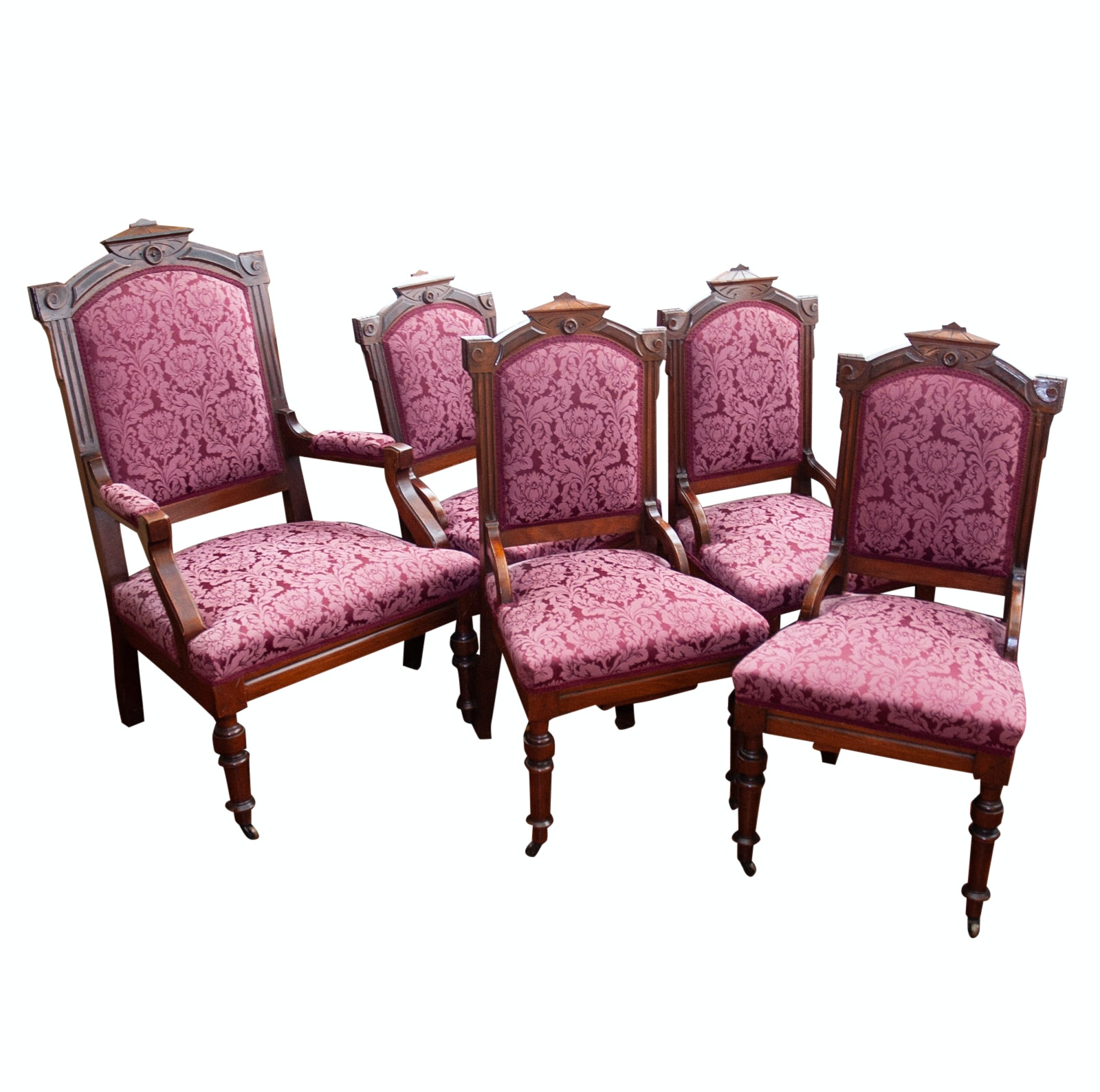 Set of 19th Century Walnut Eastlake Chairs