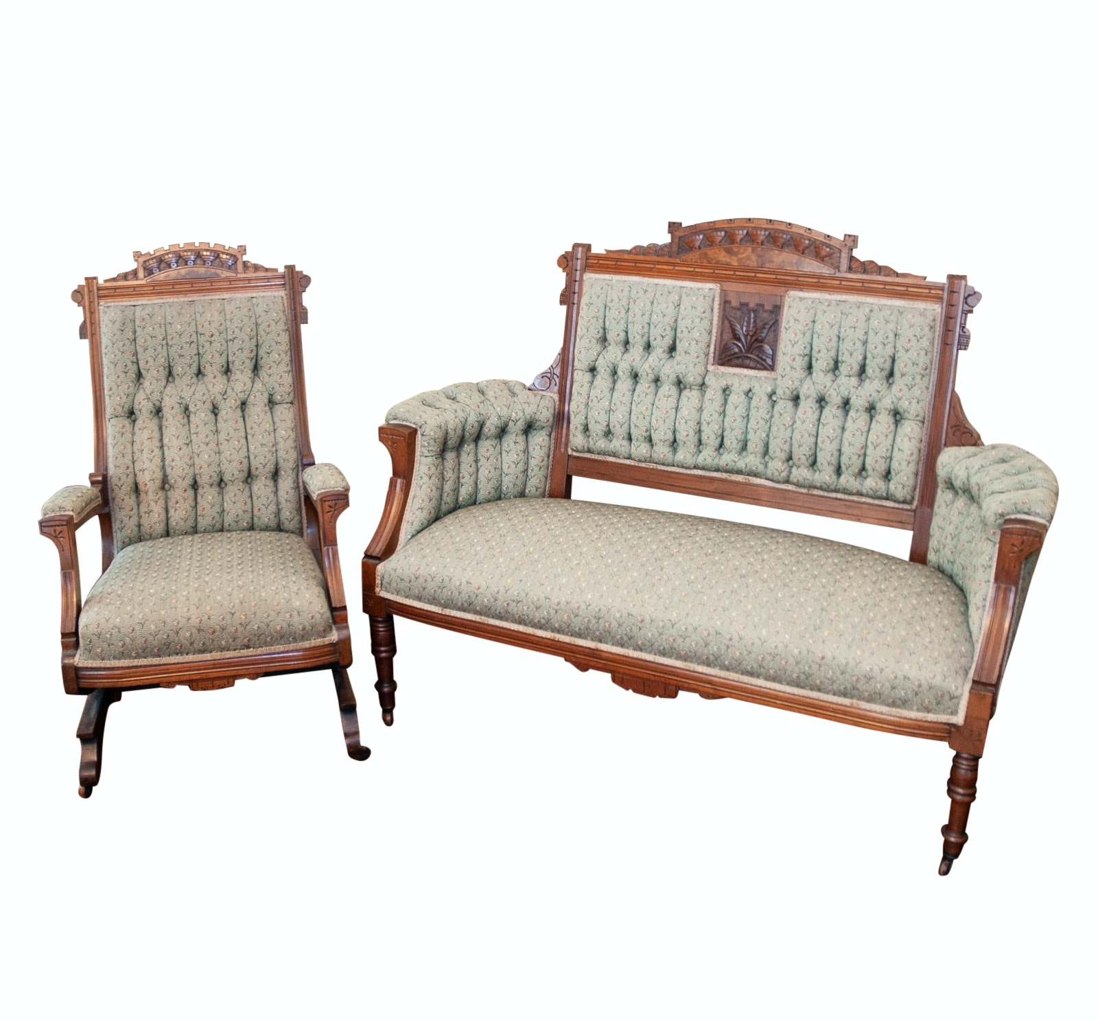 19th Century Walnut Eastlake Settee and Rocker