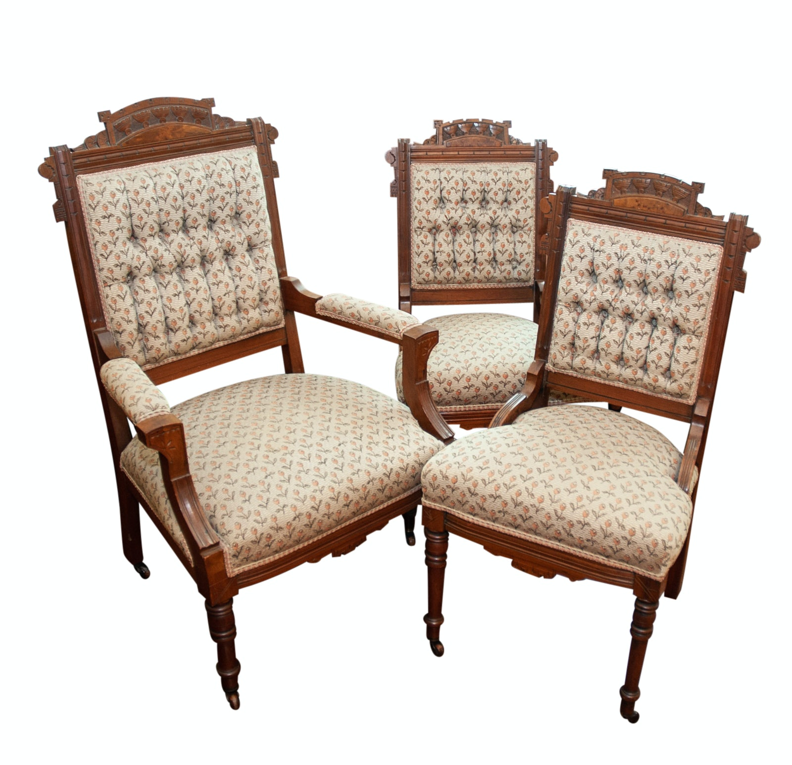 Antique Walnut Eastlake Parlor Chairs