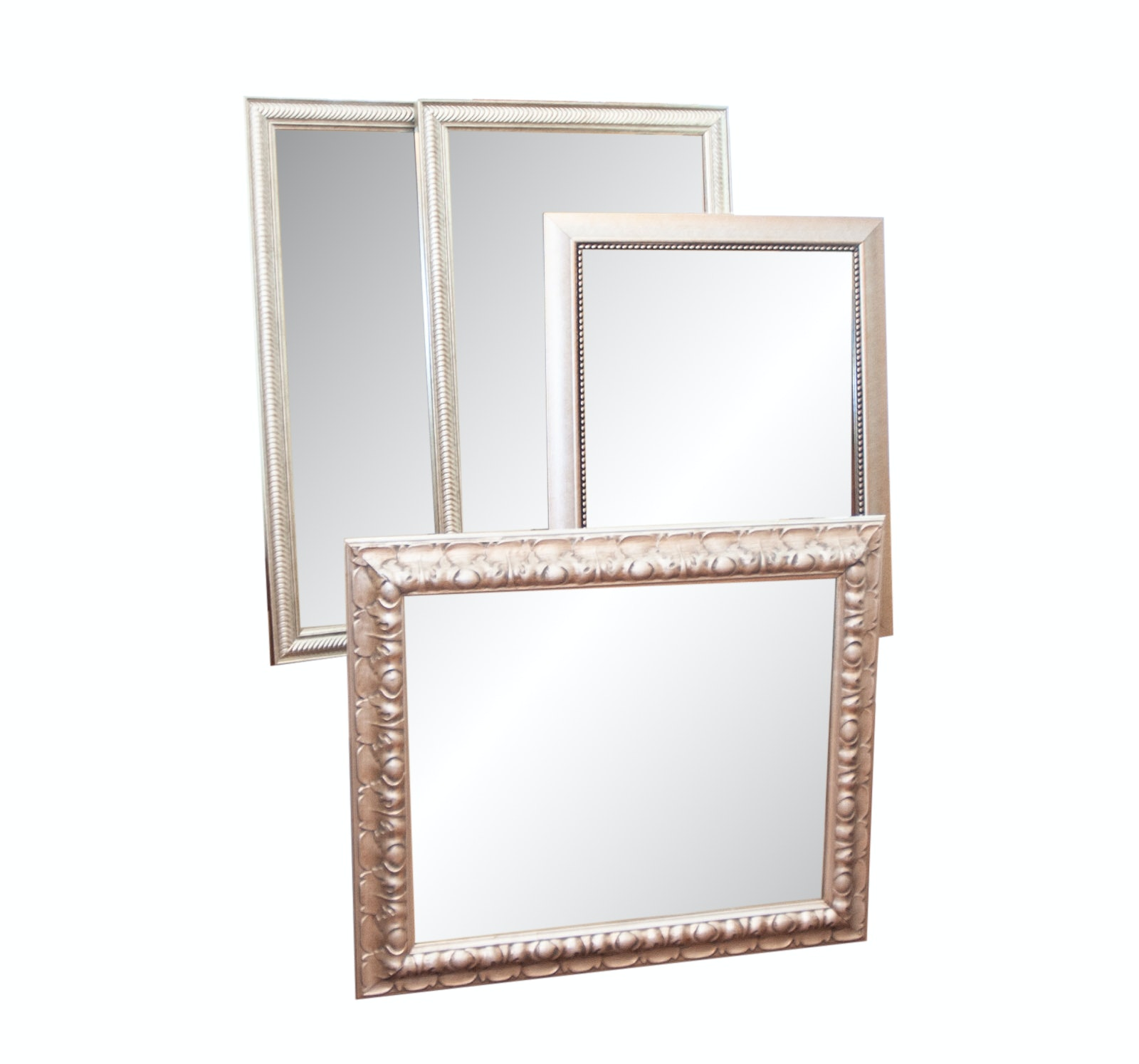 Contemporary Carved Wall Mirrors in Satin Matte Finish