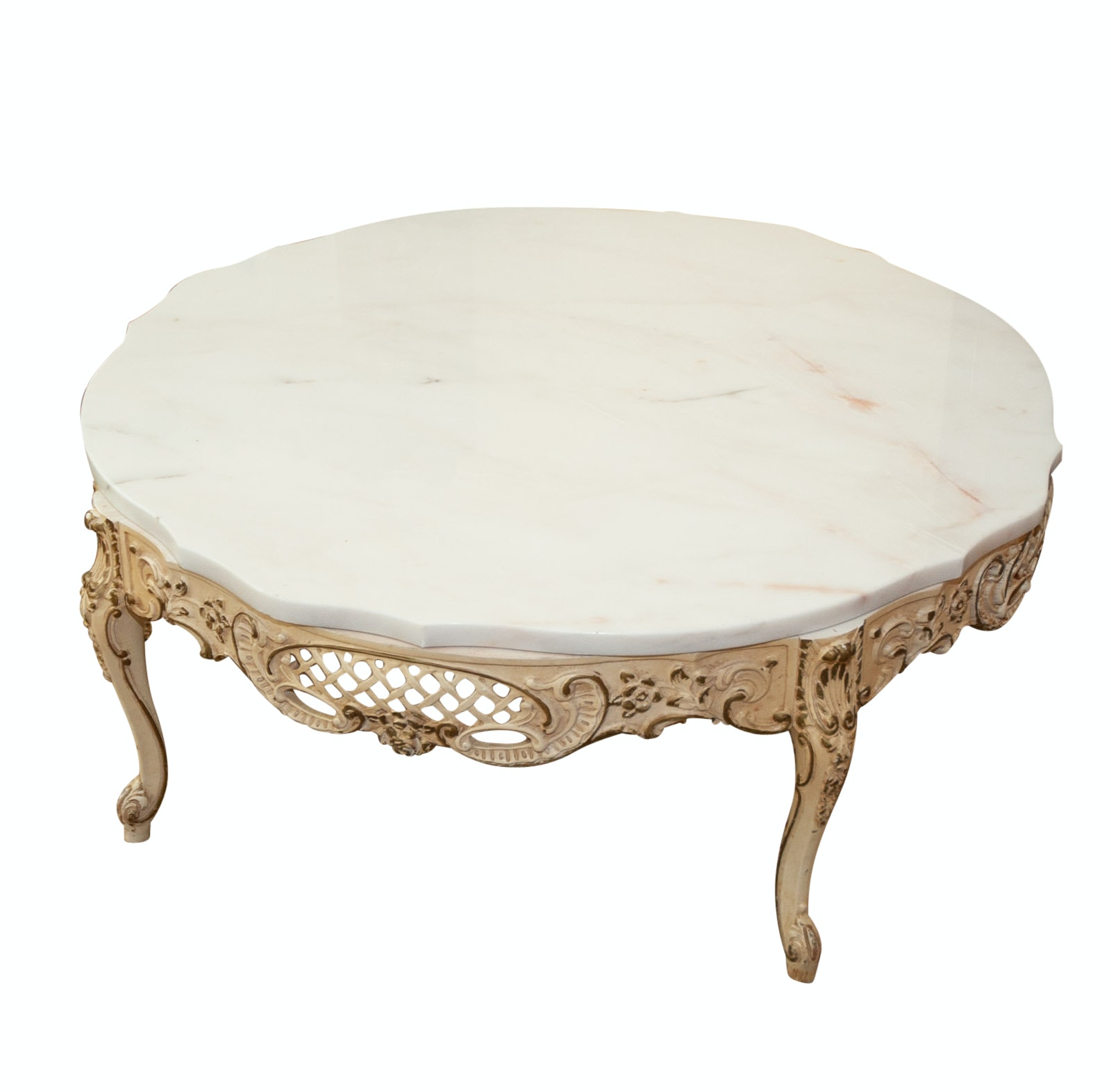 French Provincial Style Marble Coffee Table