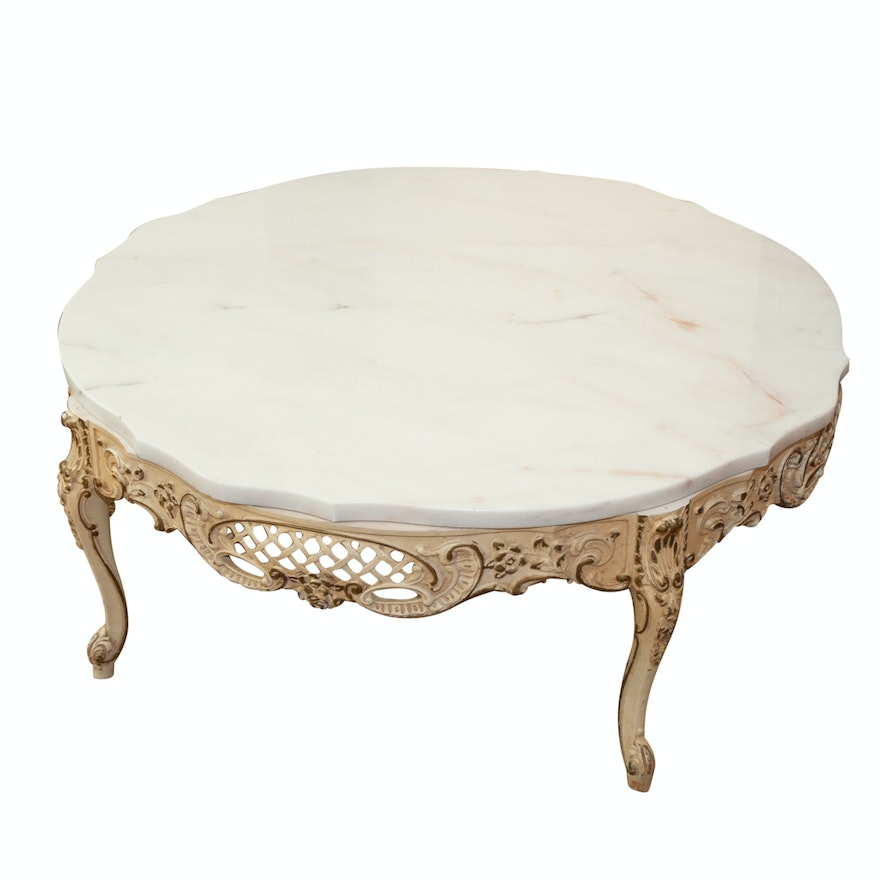 French Provincial Coffee Table Set: French Provincial Style Marble Coffee Table