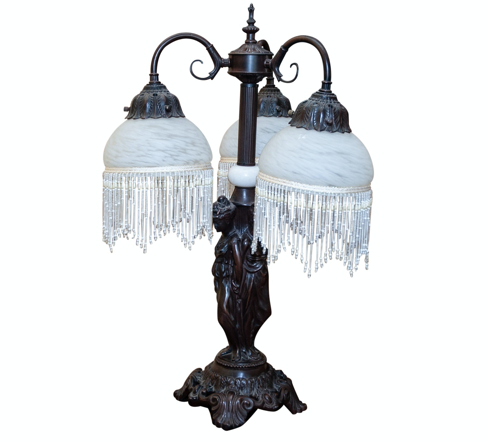 Reproduction Victorian Style Lamp with Beaded Trim Shades