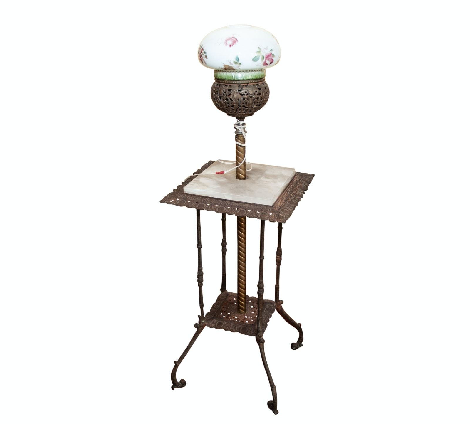 Victorian Hand-Painted Glass and Marble Floor Lamp Table