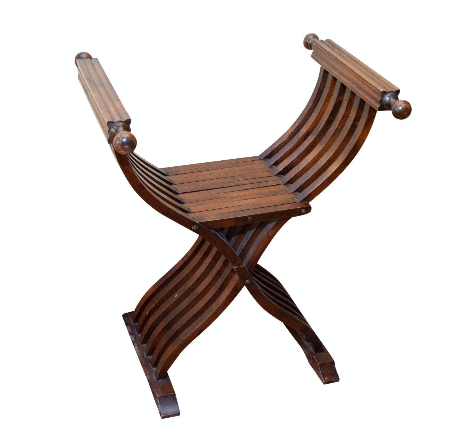 Italian Renaissance Savonarola Style Wood Chair