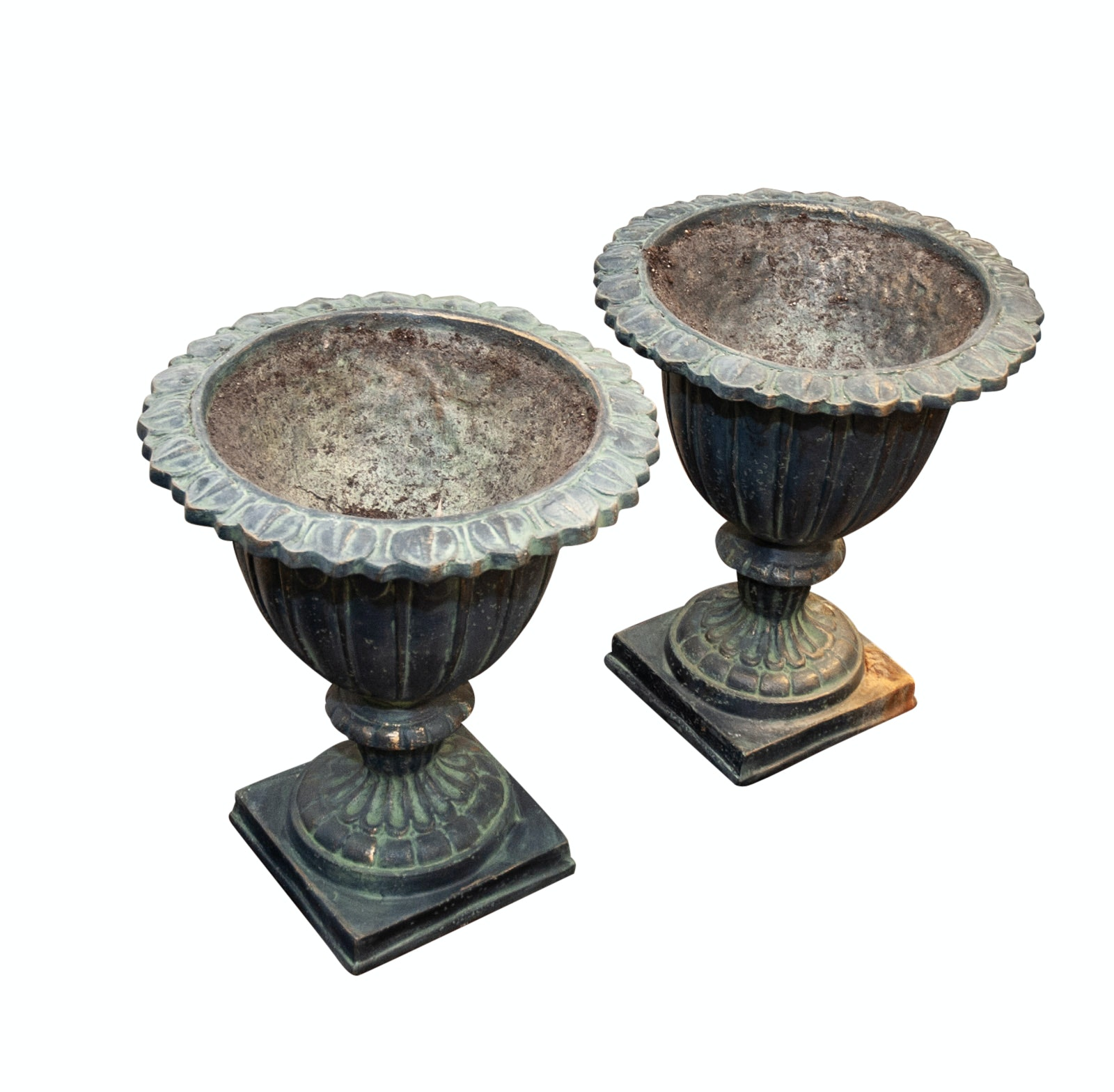 Pair of Classical Style Cast Poly Stone Garden Urns
