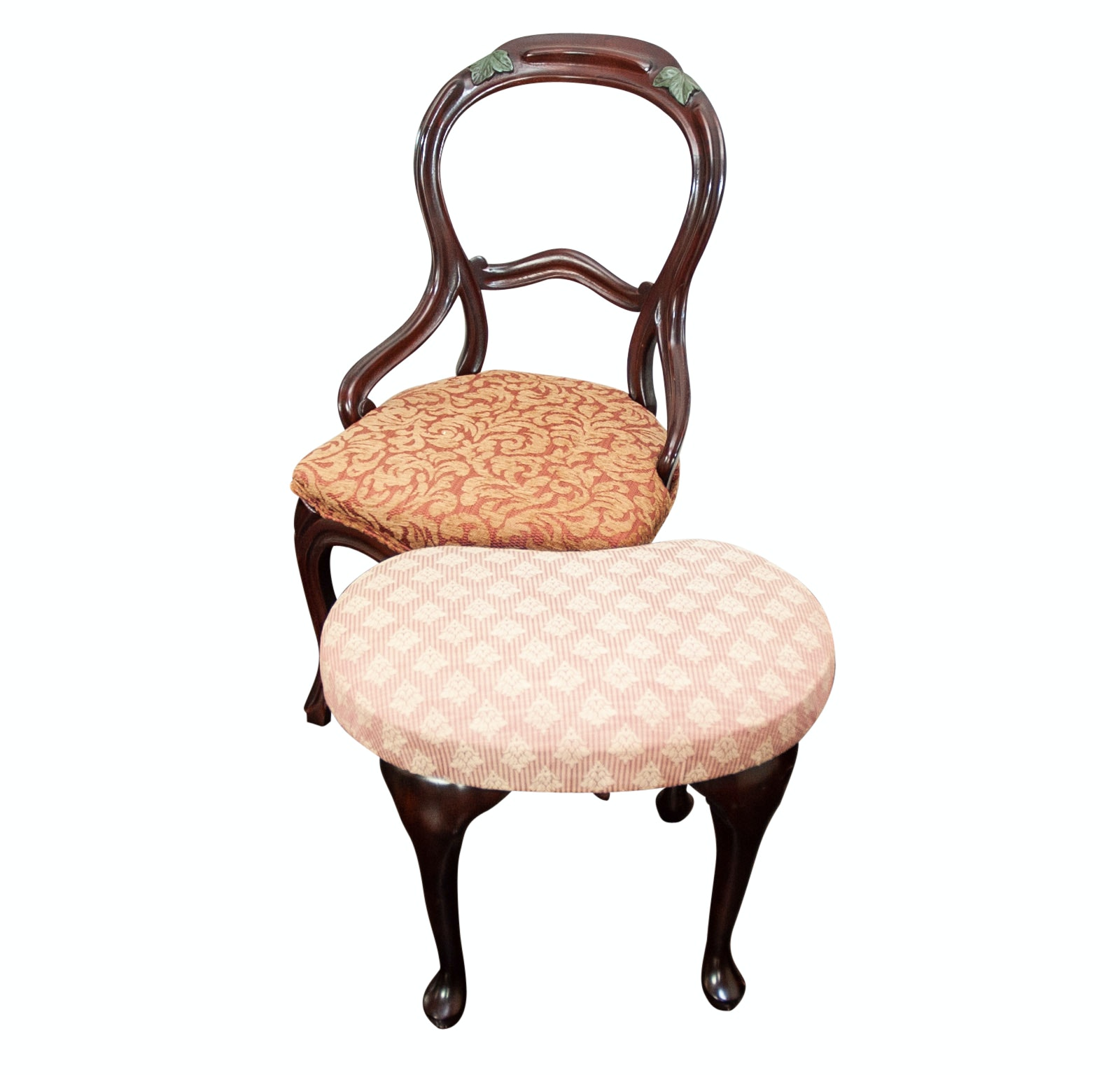 Carved Balloon Style Side Chair and Upholstered Footstool