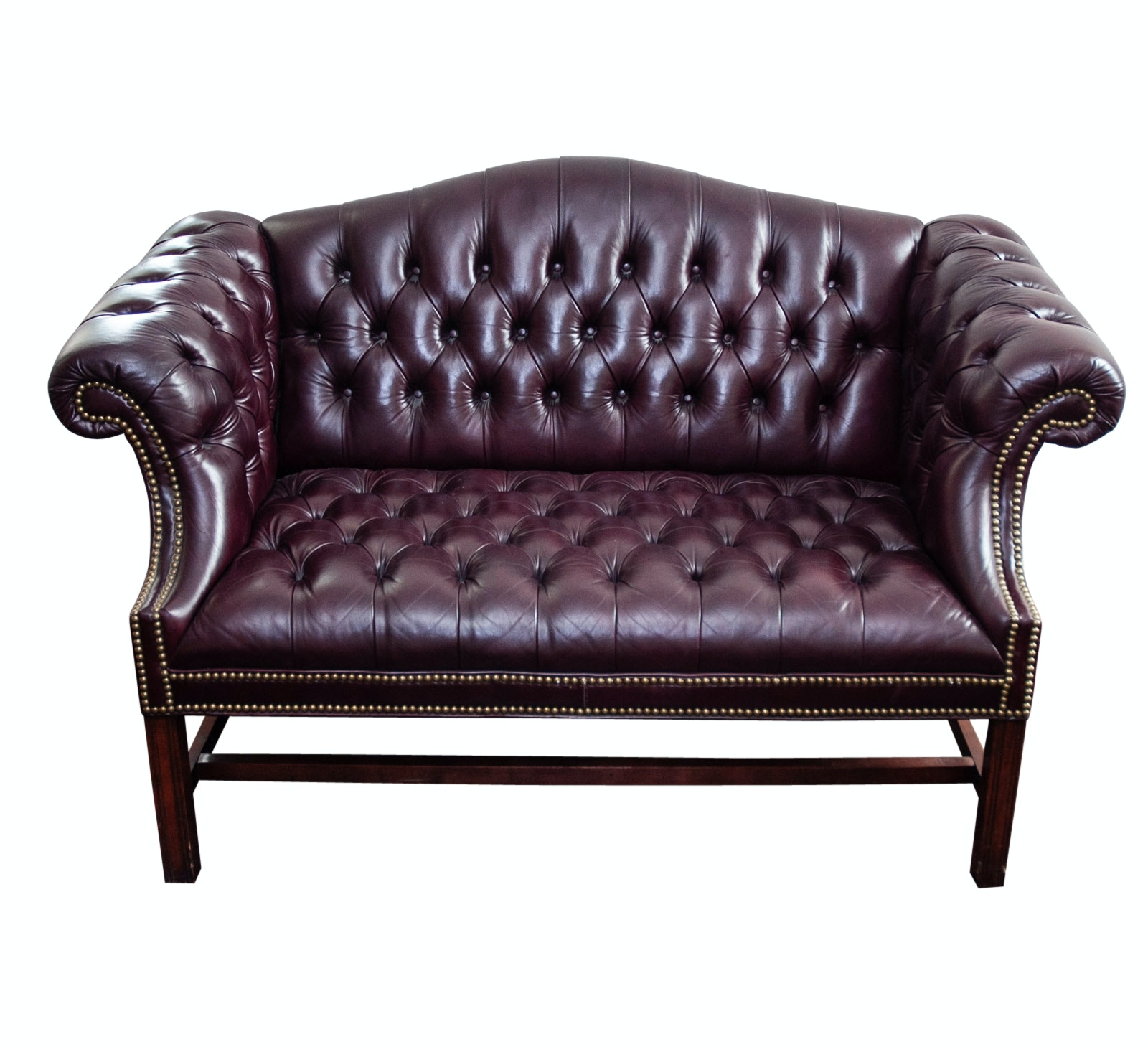 Contemporary Tufted Leather Settee