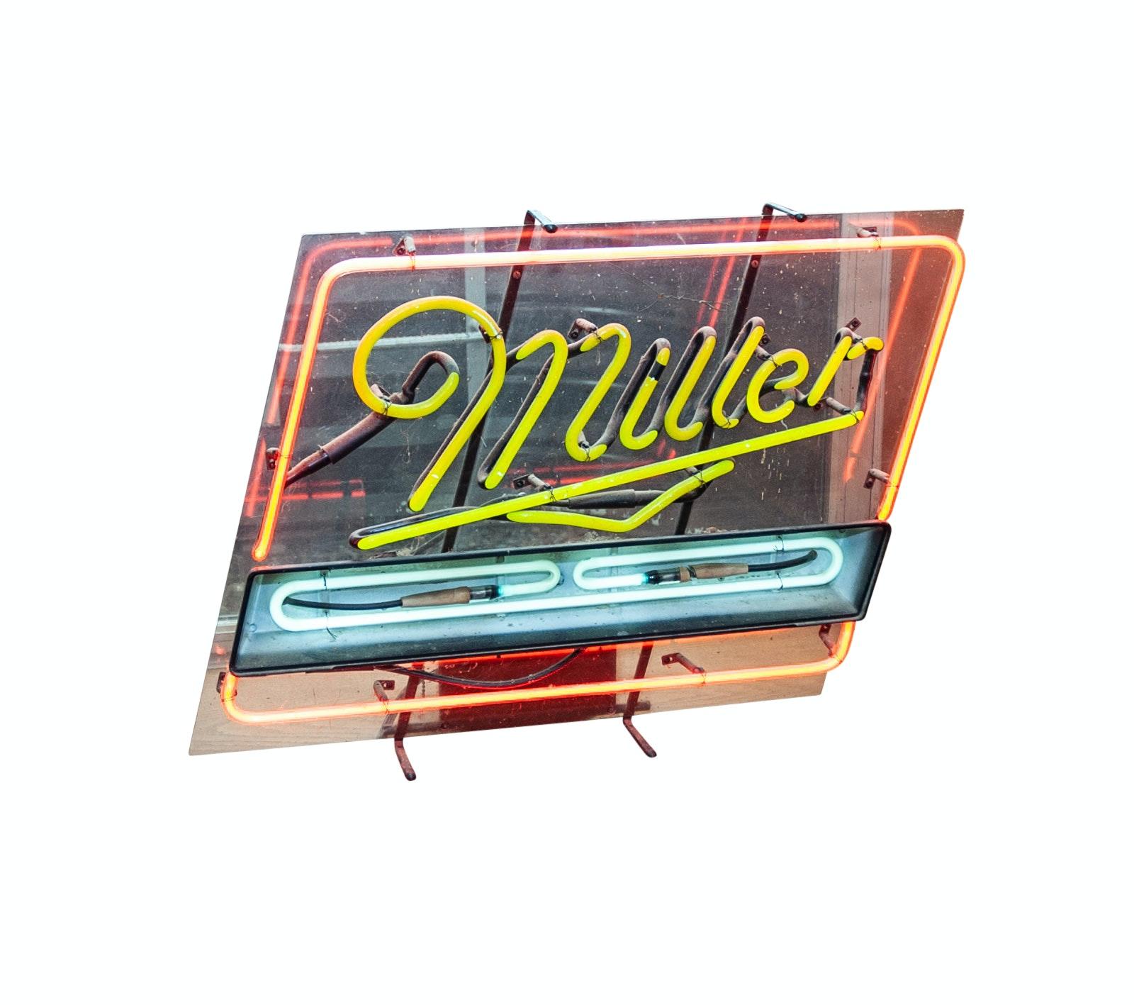 Vintage Miller Neon Beer Sign, 1960s