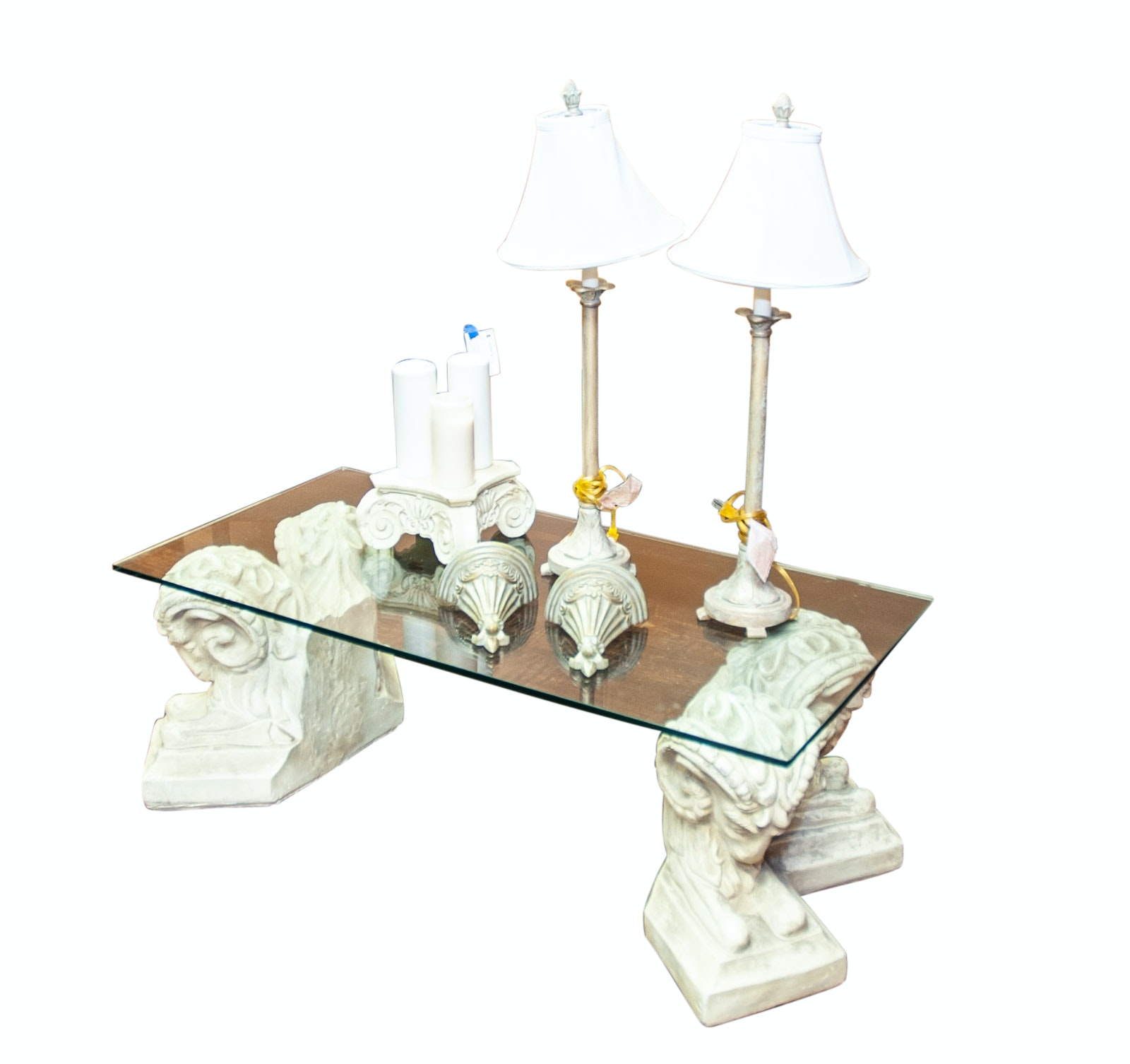 Neoclassical Style Cast Stone and  Glass Coffee Table and Decor