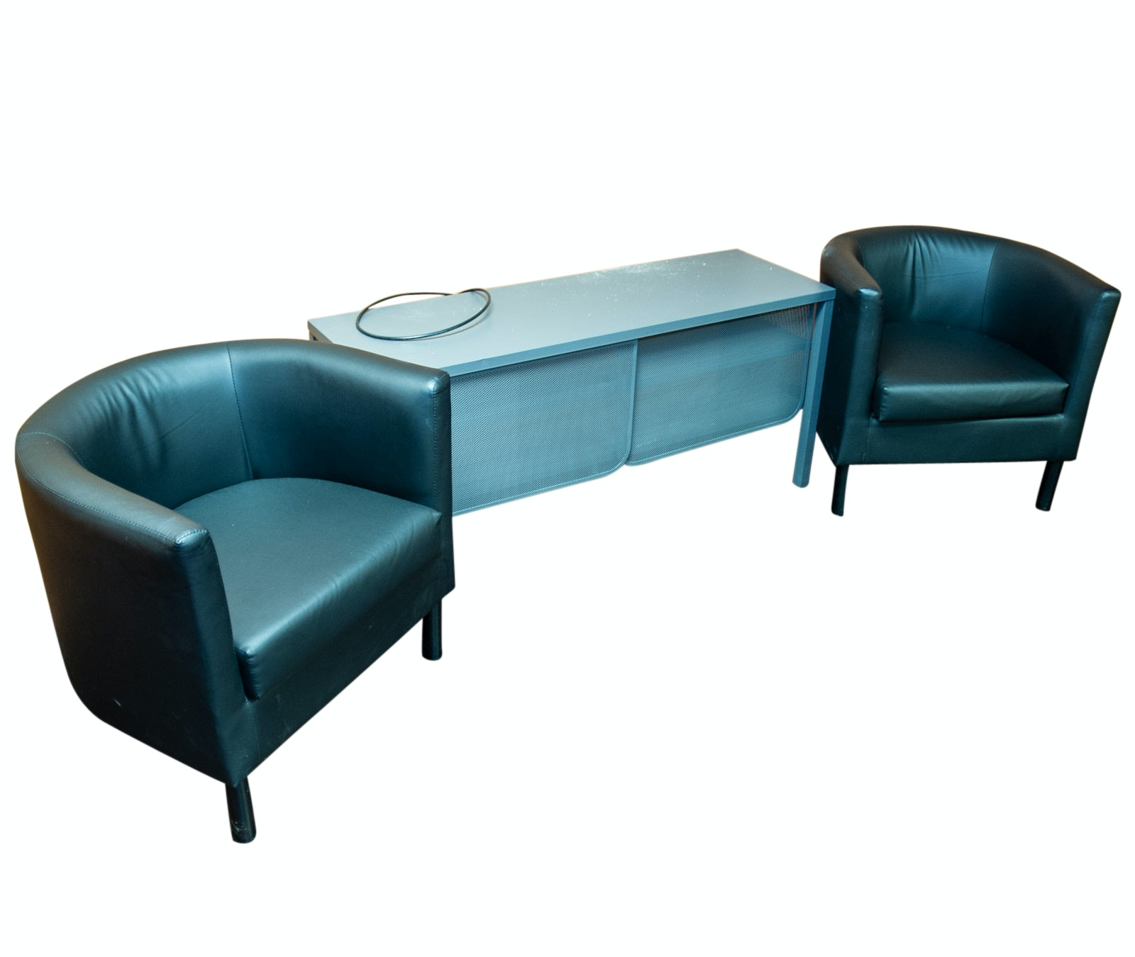 Contemporary Club Chairs and Metal Console Stand