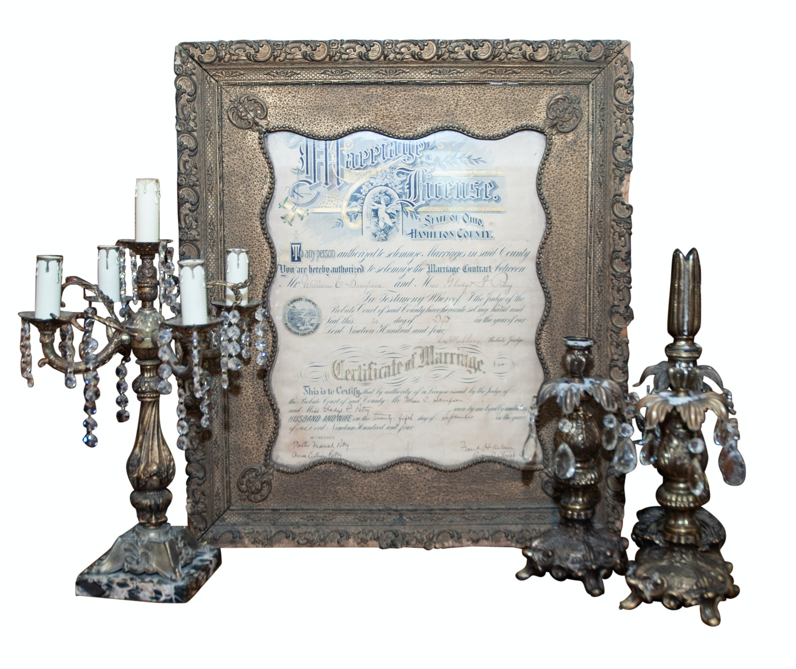 1904 Framed Calligraphic Marriage License with Vintage Victorian Style Decor