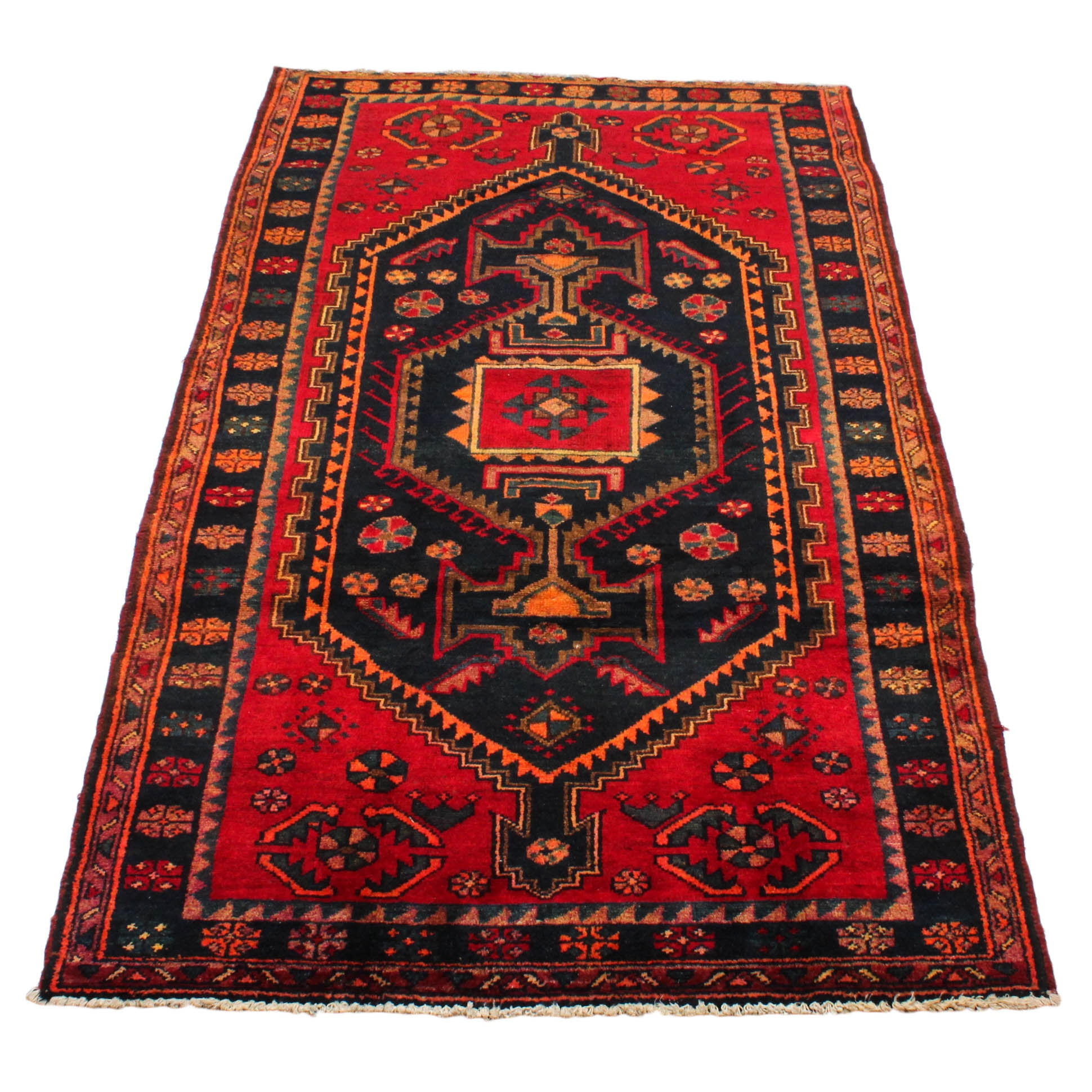Semi-Antique Hand-Knotted Persian Zanjan Area Rug