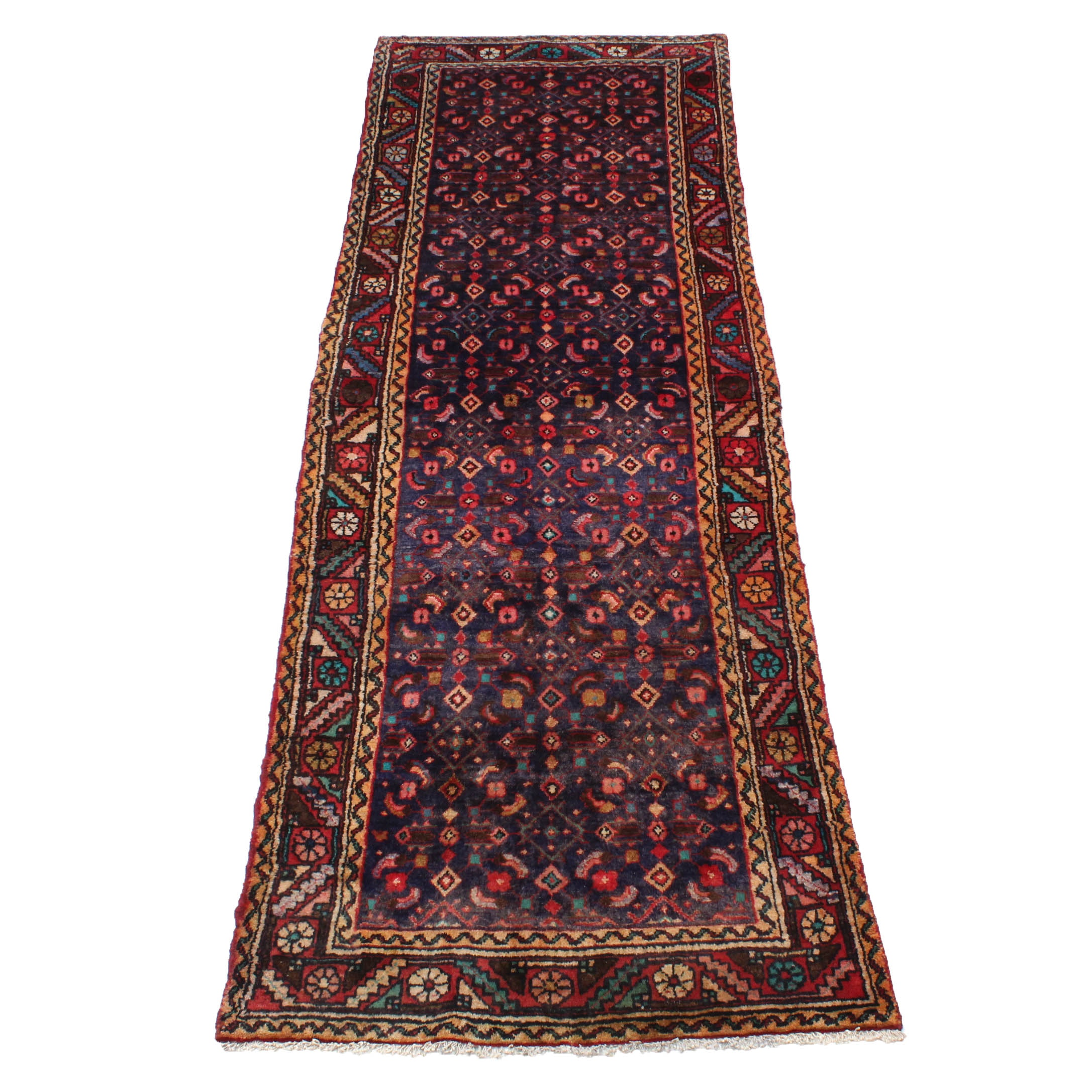 Semi-Antique Hand-Knotted Persian Mahal Runner