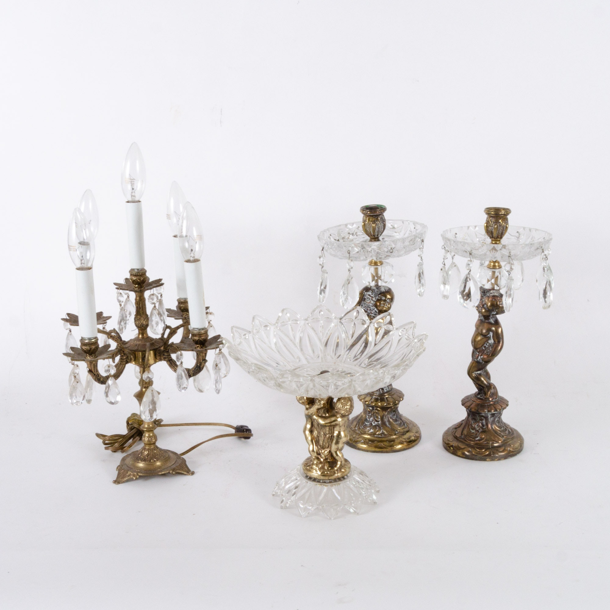 Vintage Brass Candelabra Lamp and Crystal and Glass Decor