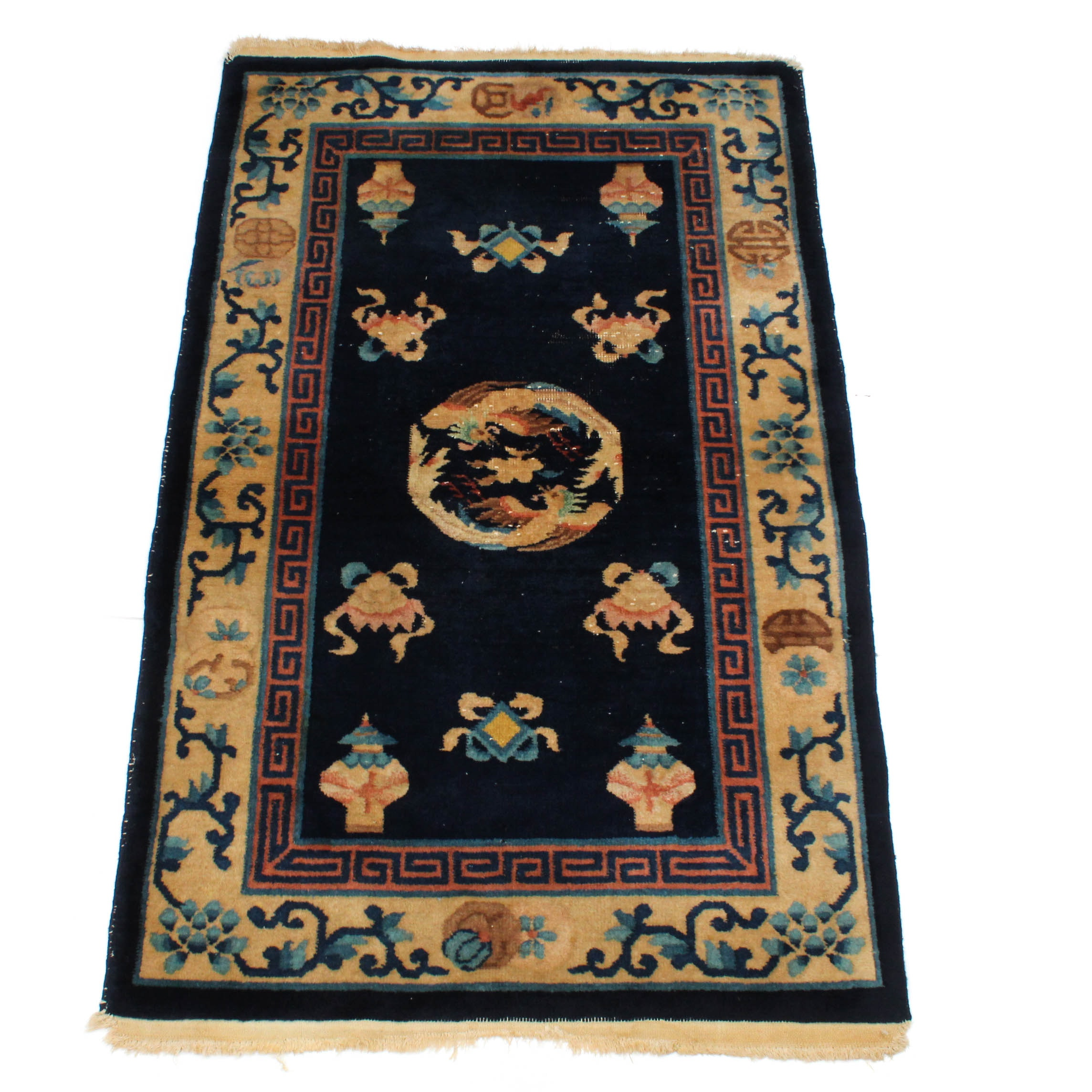Antique Hand-Knotted Chinese Peking Rug