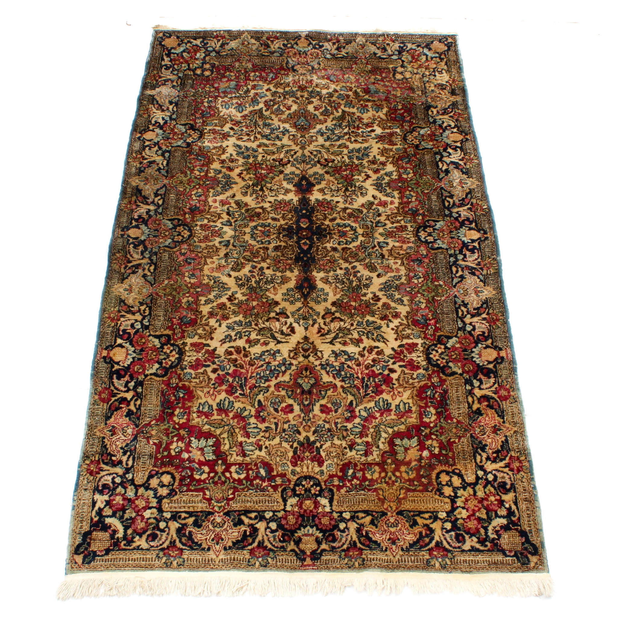 Antique Hand-Knotted Persian Lavar Kirman