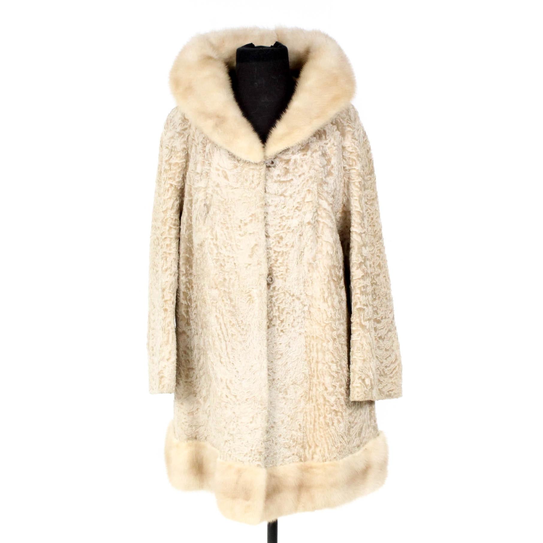 Blond Persian Lamb Coat with Mink Fur Collar
