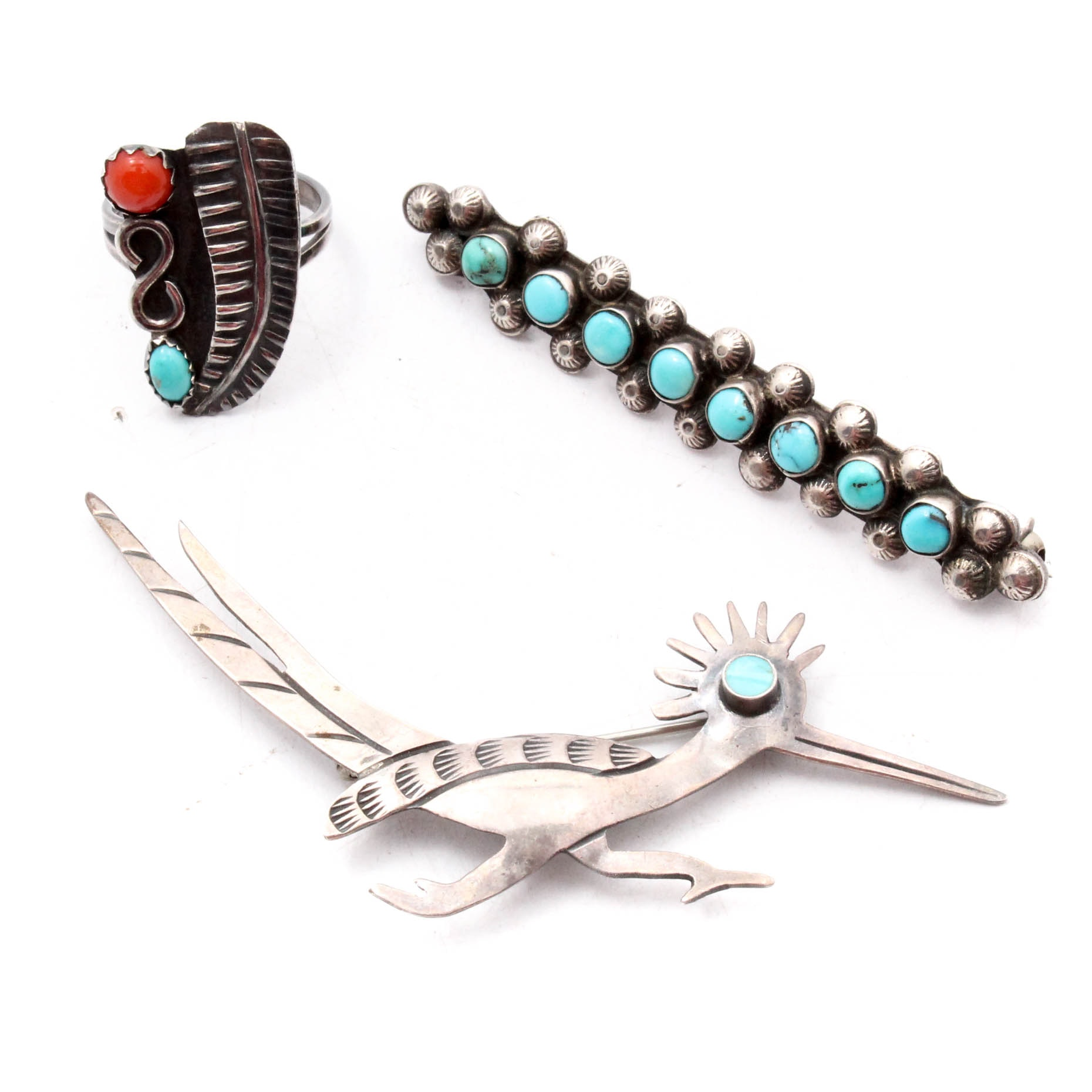 Silver Tone Dyed Turquoise and Coral Brooches and Ring