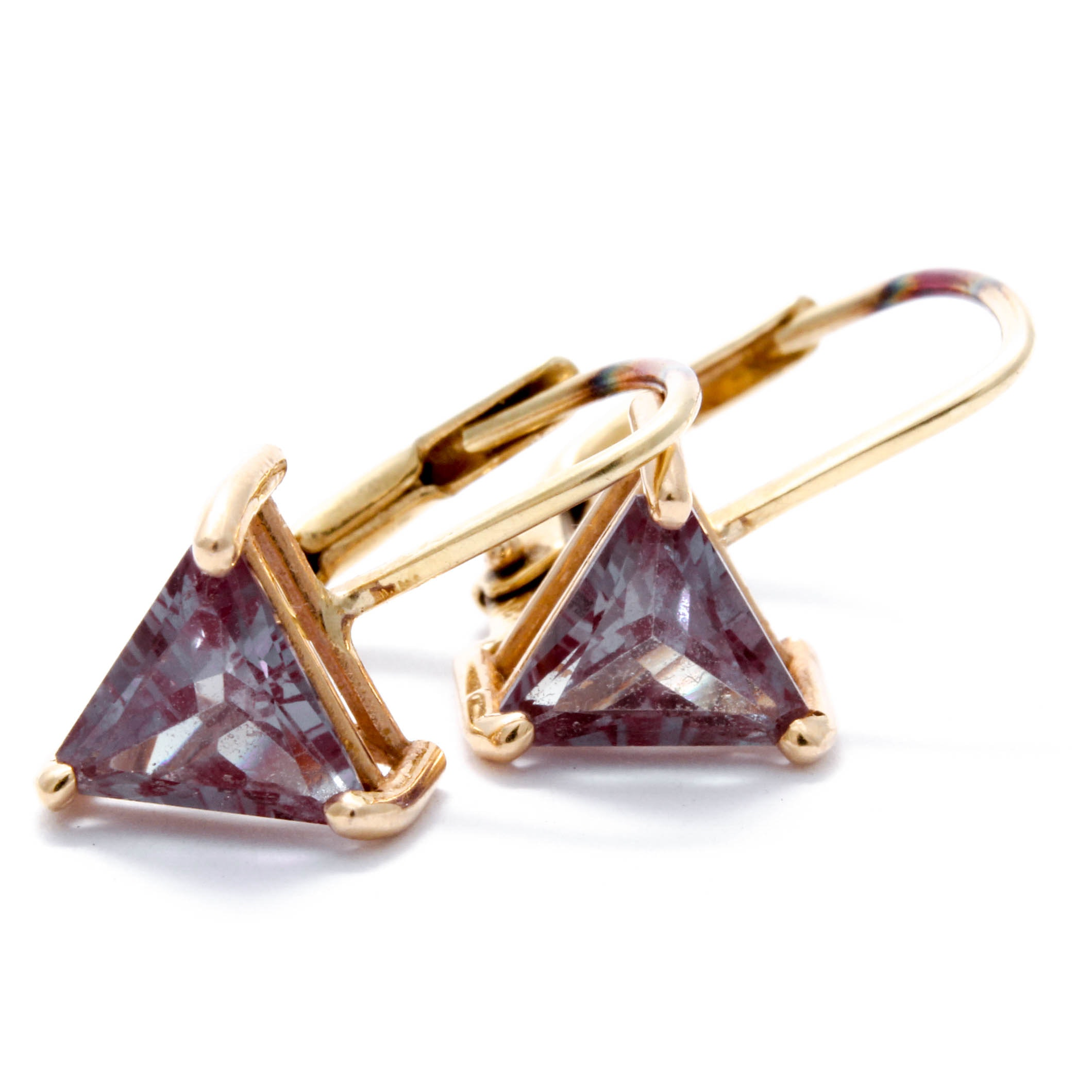 14K Yellow Gold Synthetic Sapphire Earrings