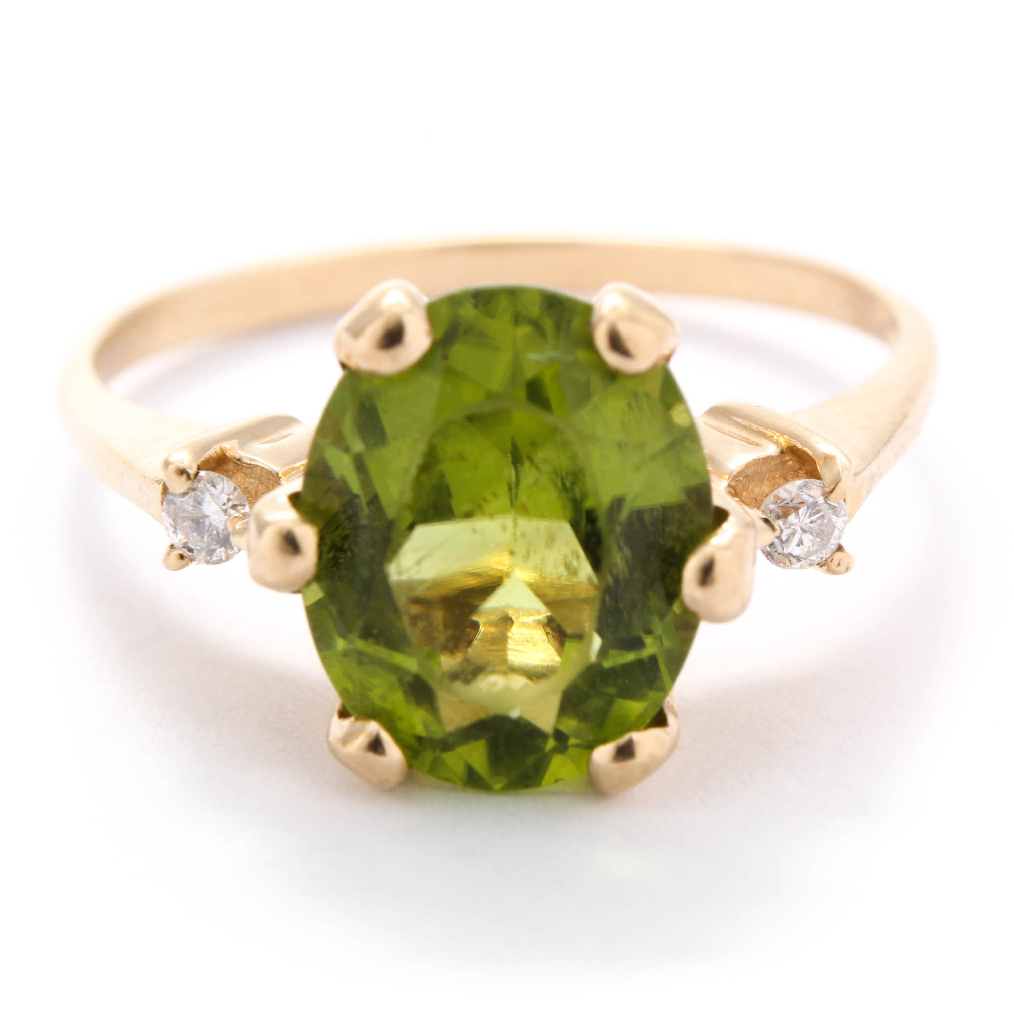 10K Yellow Gold Peridot and Diamond Ring