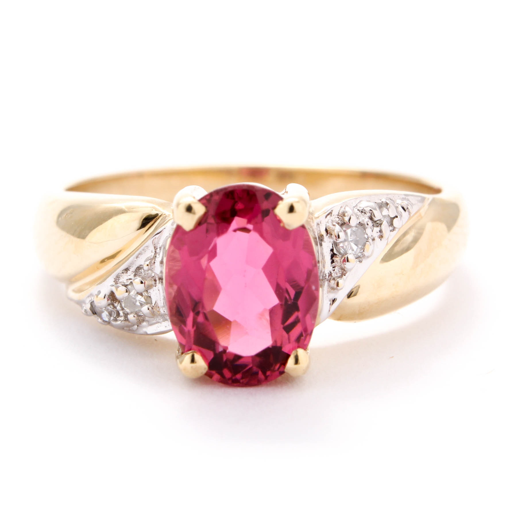 10K Yellow Gold Pink Tourmaline and Diamond Ring