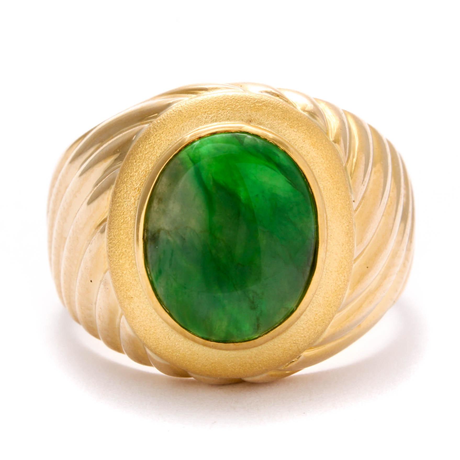 18K Yellow Gold Jadeite Ring
