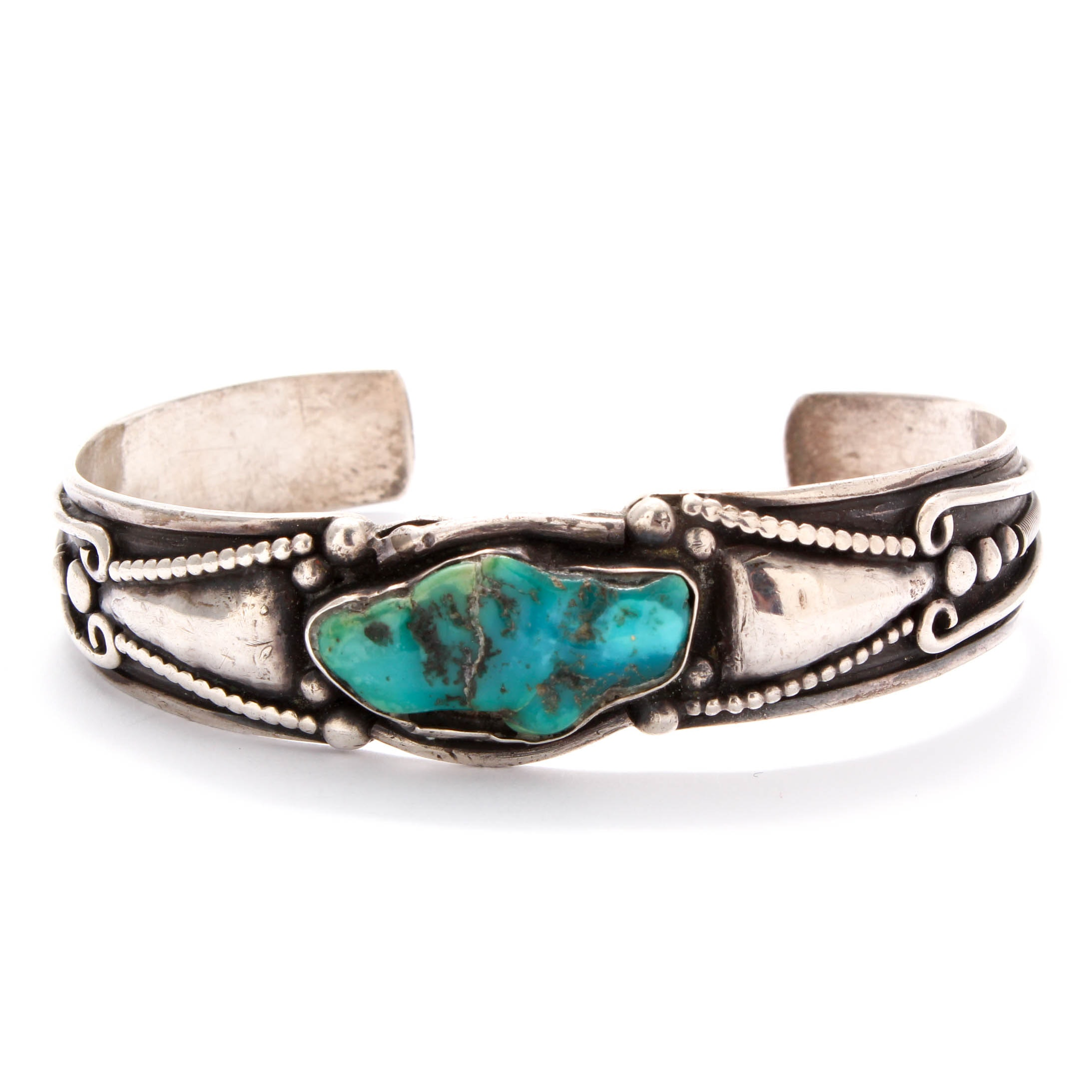 Allen Pooyouma Hopi Sterling Silver Dyed Turquoise Cuff