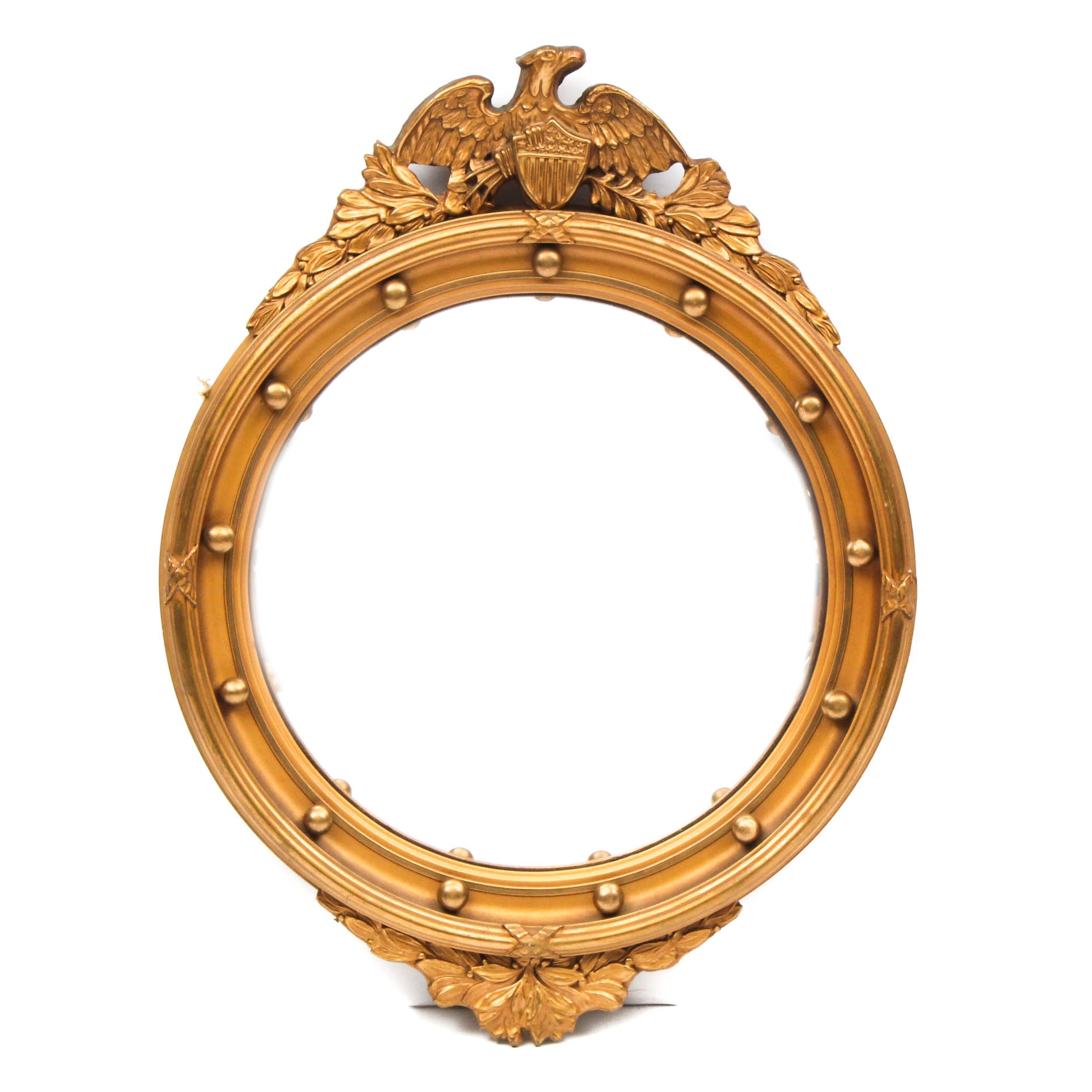 Convex Federal Style Gilt Mirror with Eagle Crest