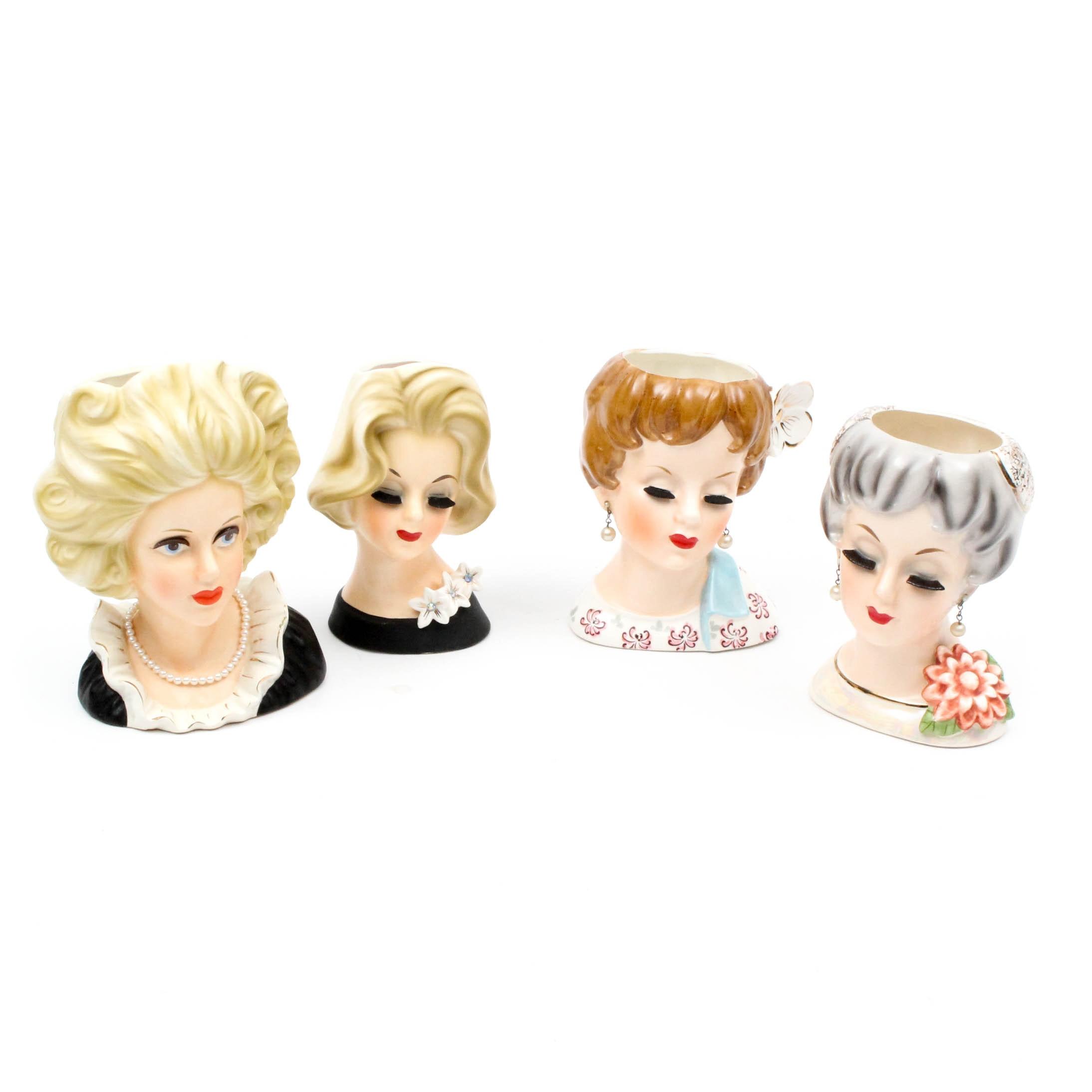 Vintage Lady Head Vases Including Relpo
