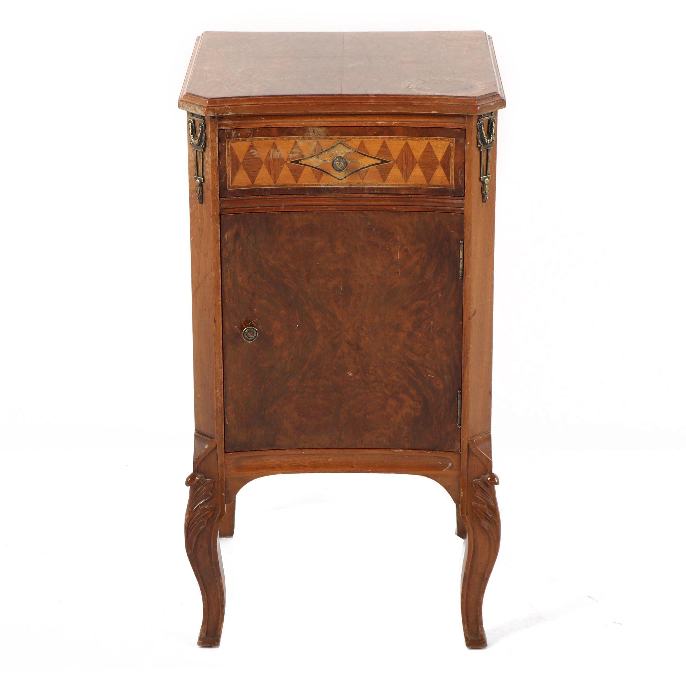 Vintage Louis XV Style Burl Wood Side Cabinet