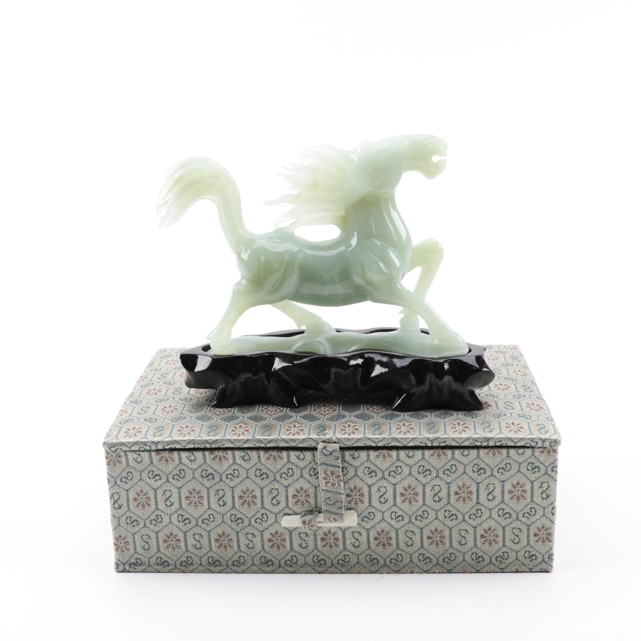 Chinese Carved Bowenite Horse Figurine with Wooden Stand and Case
