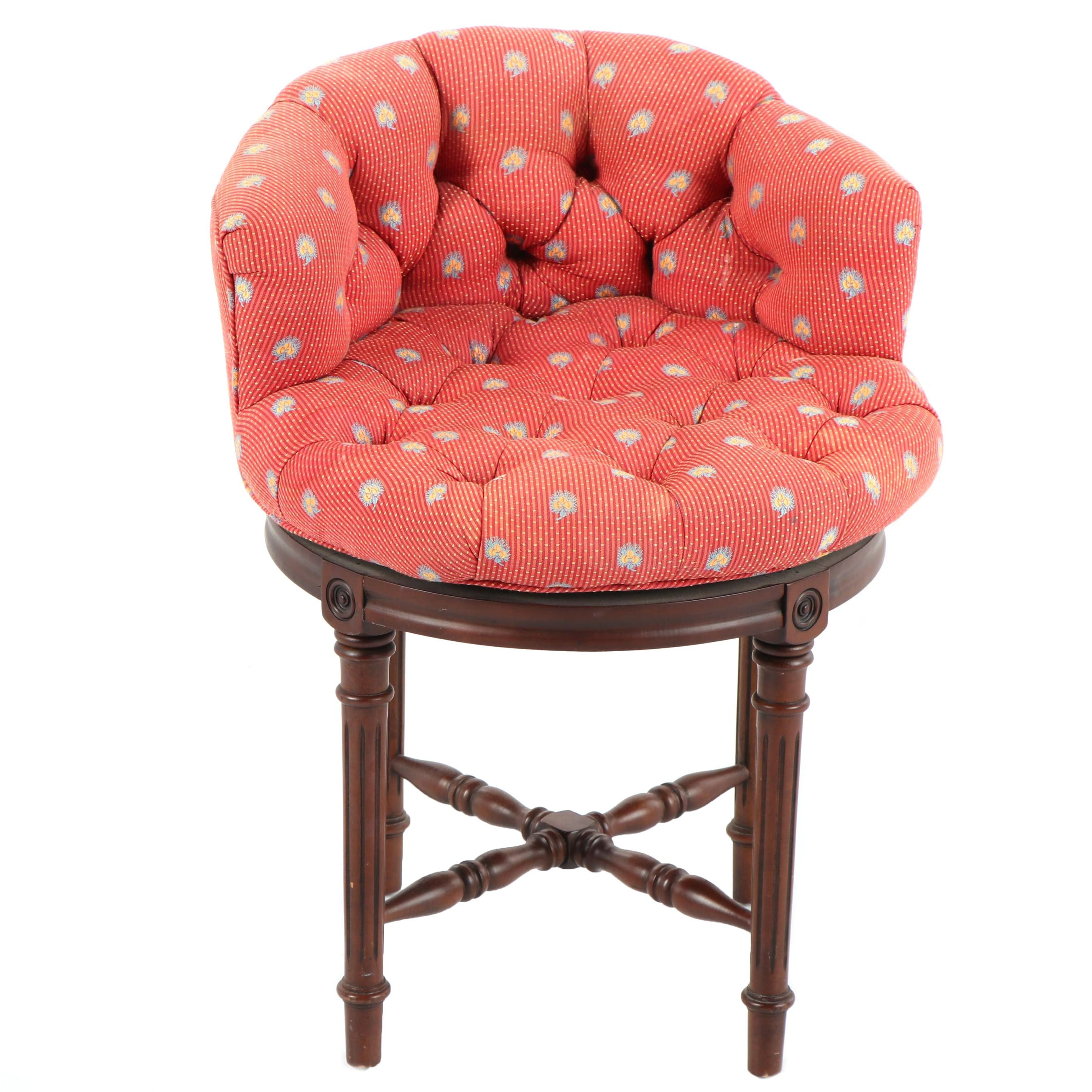 Button Tufted Low Back Vanity Stool