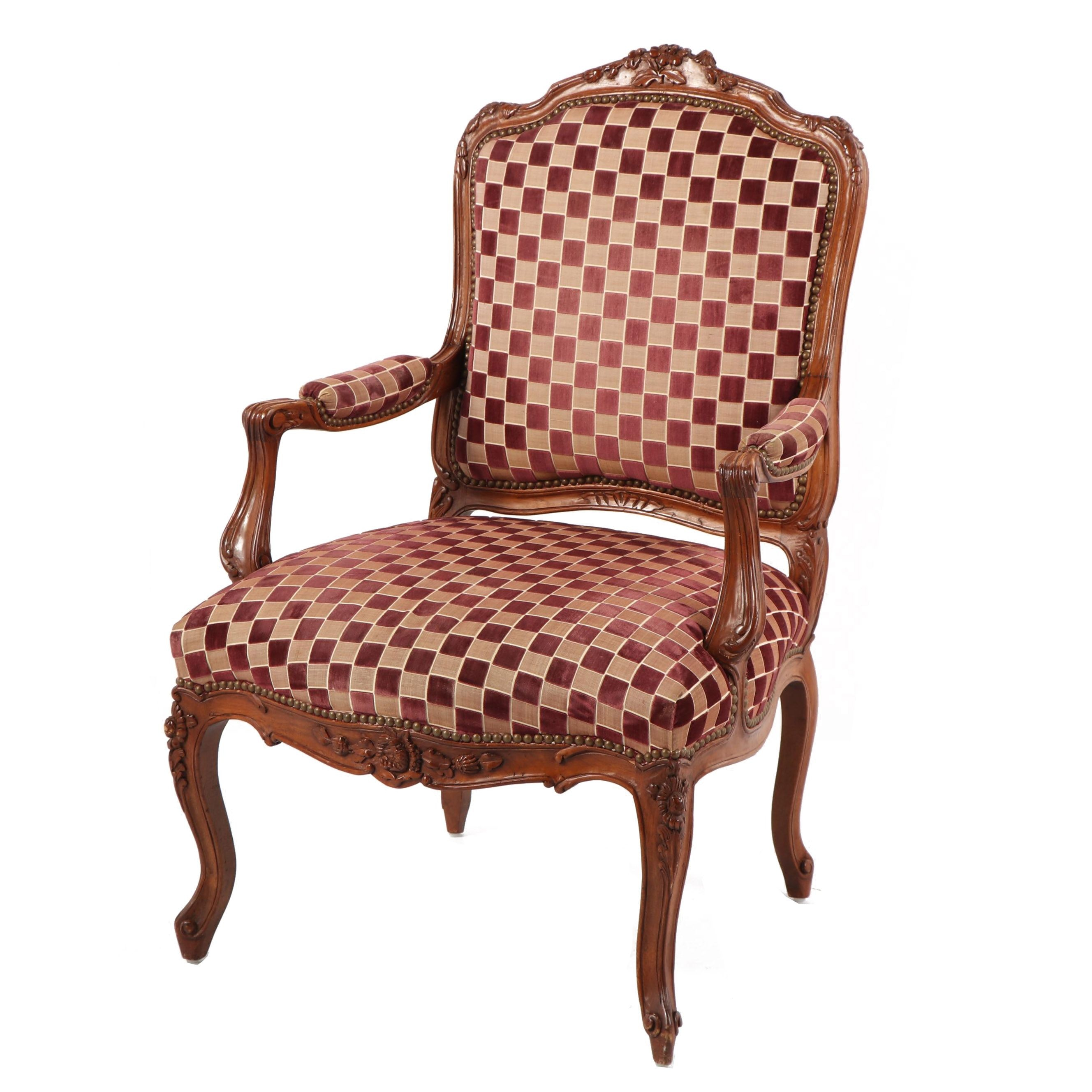 Cream and Black Checked Upholstered Louis XV Style Armchair