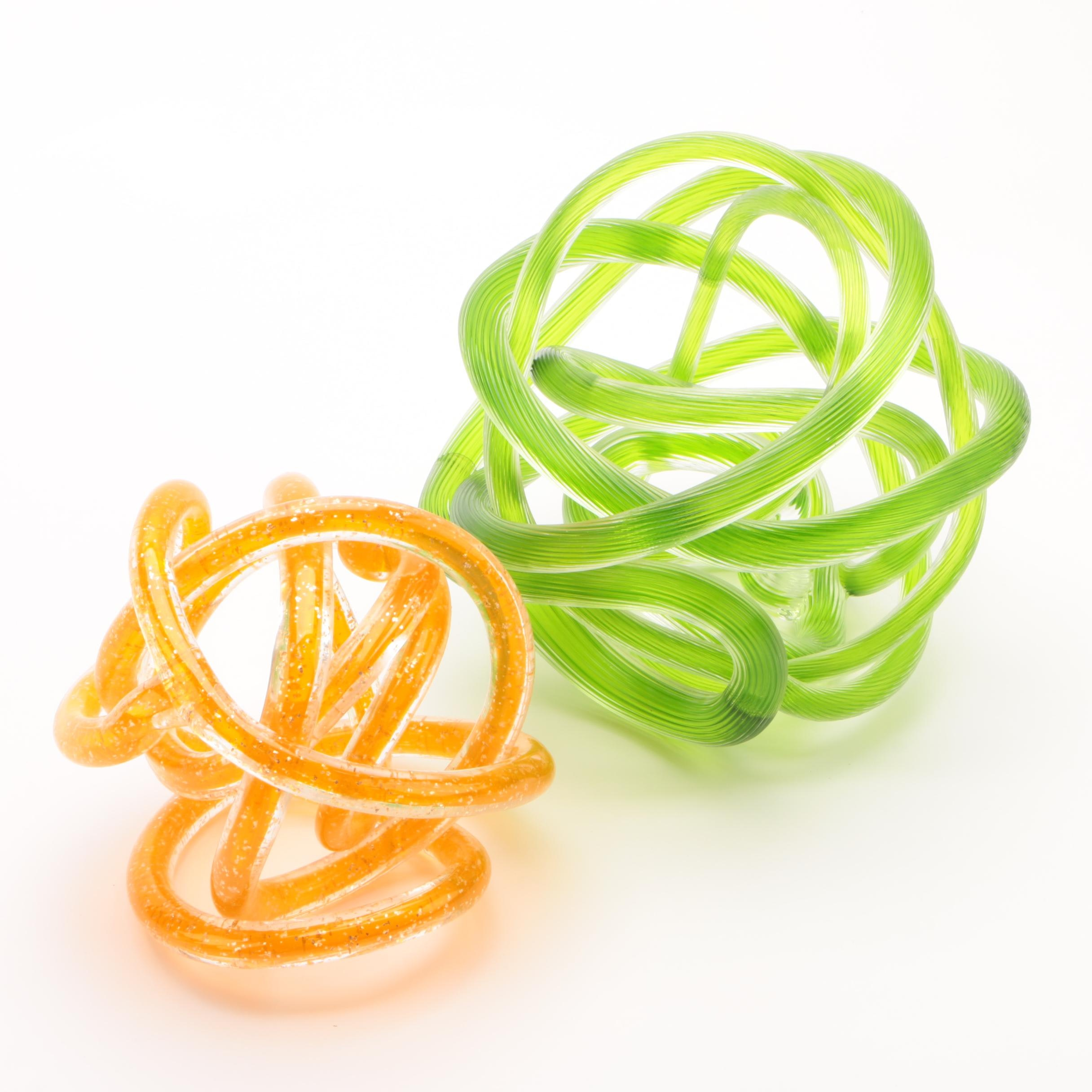 Contemporary Tangled Knot Art Glass Sculptures