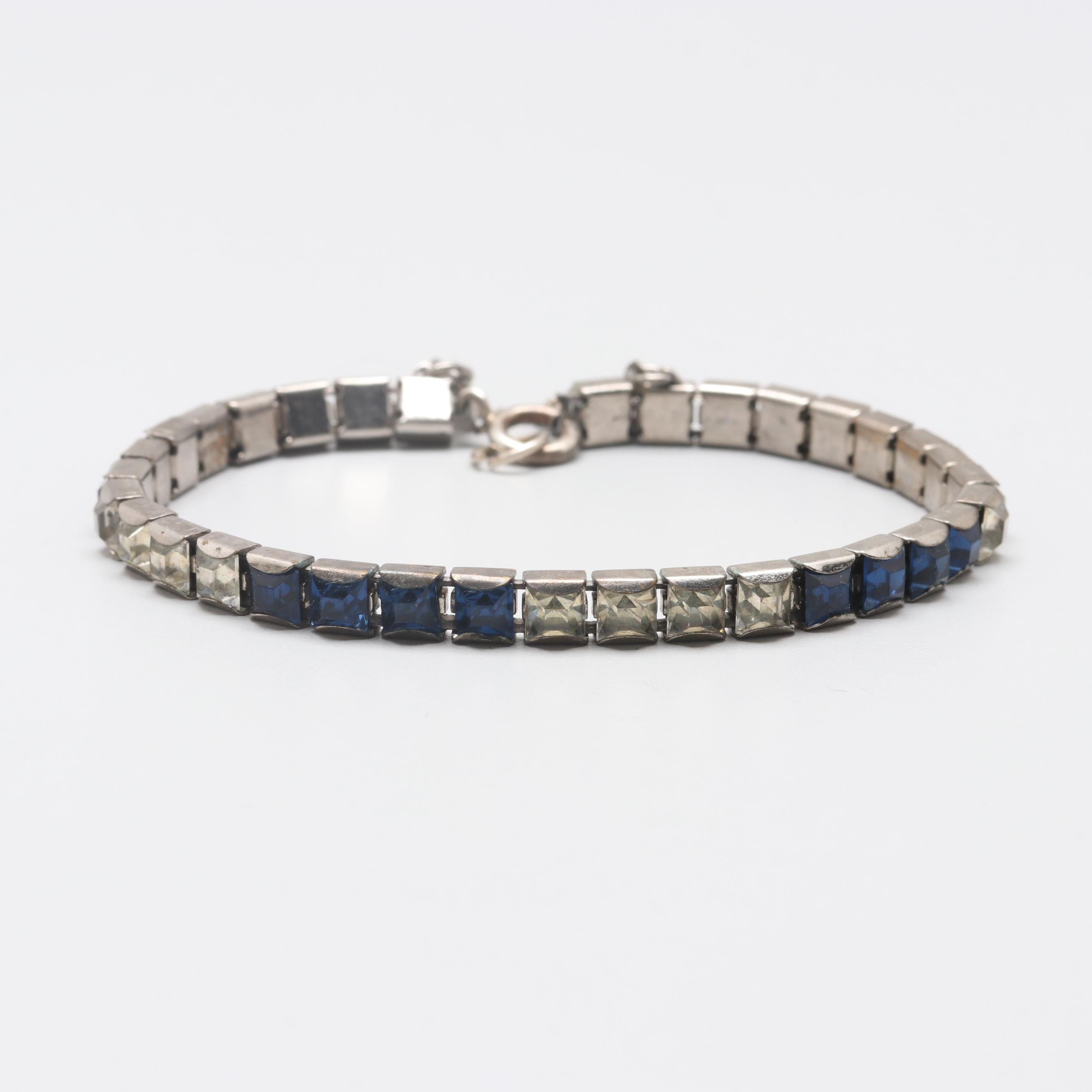 Art Deco Silver Tone Glass Link Bracelet