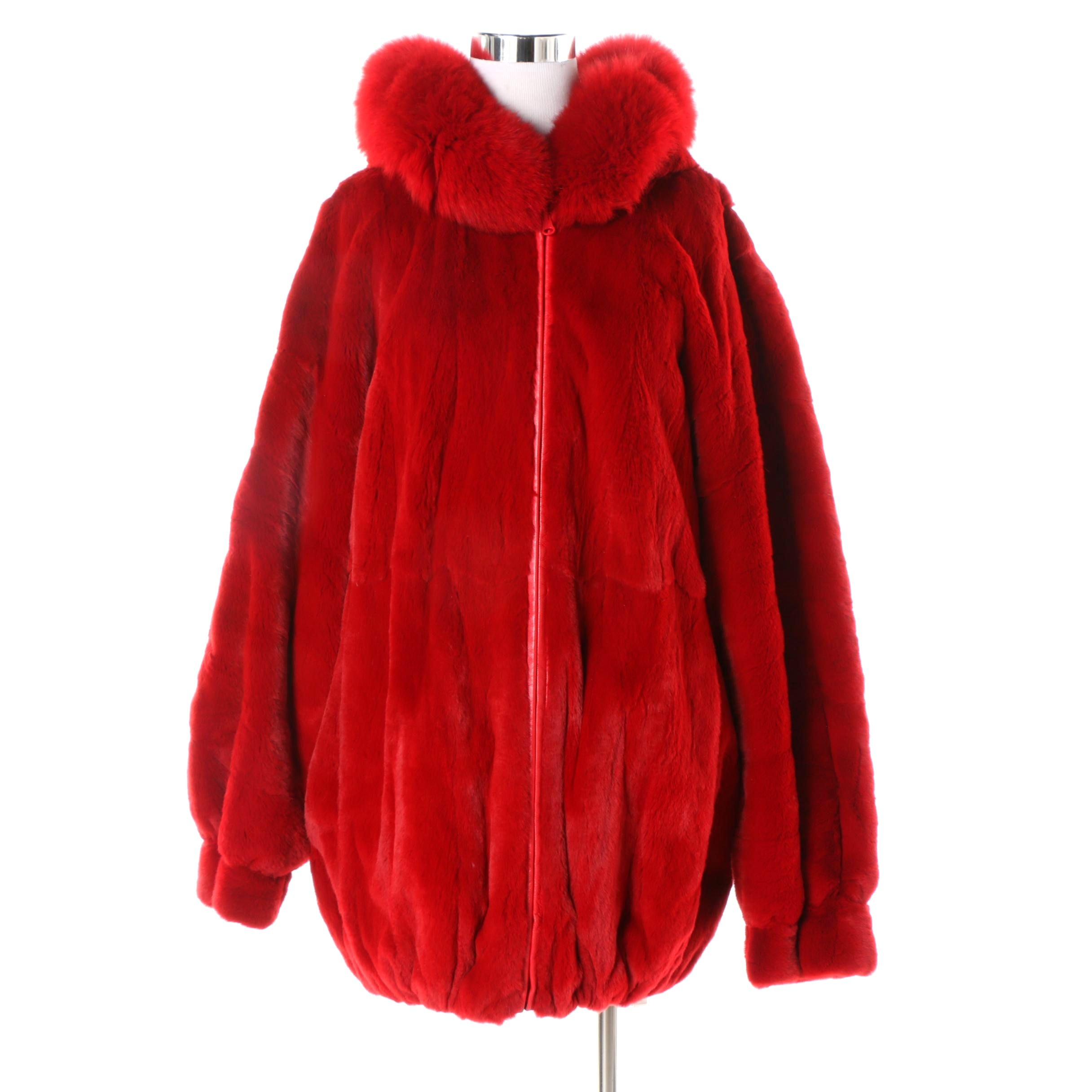 Red Leather and Sheared Beaver Reversible Coat with Fox Fur Trim