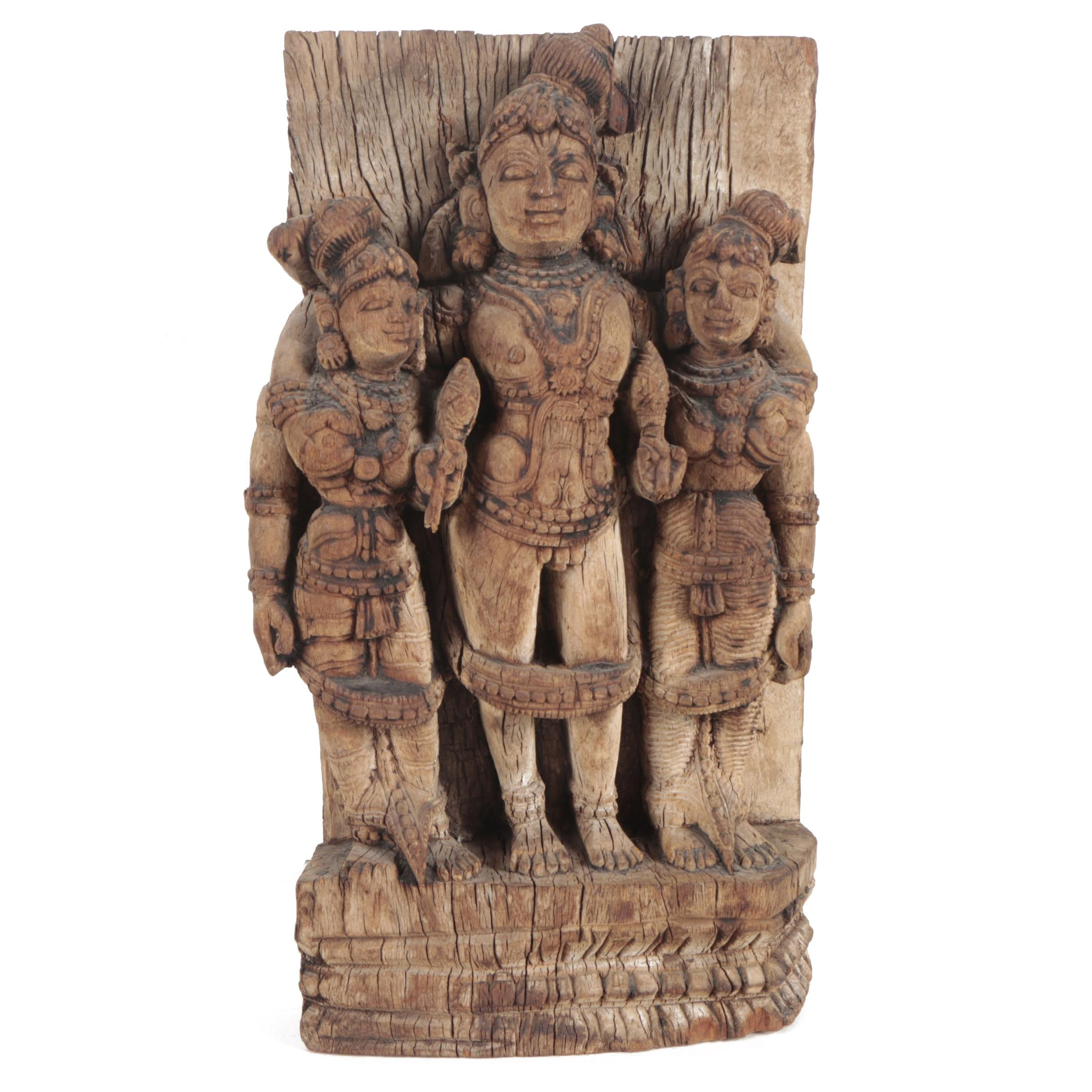 South Asian Lakshmi with Attendants Carved Wood Sclpture