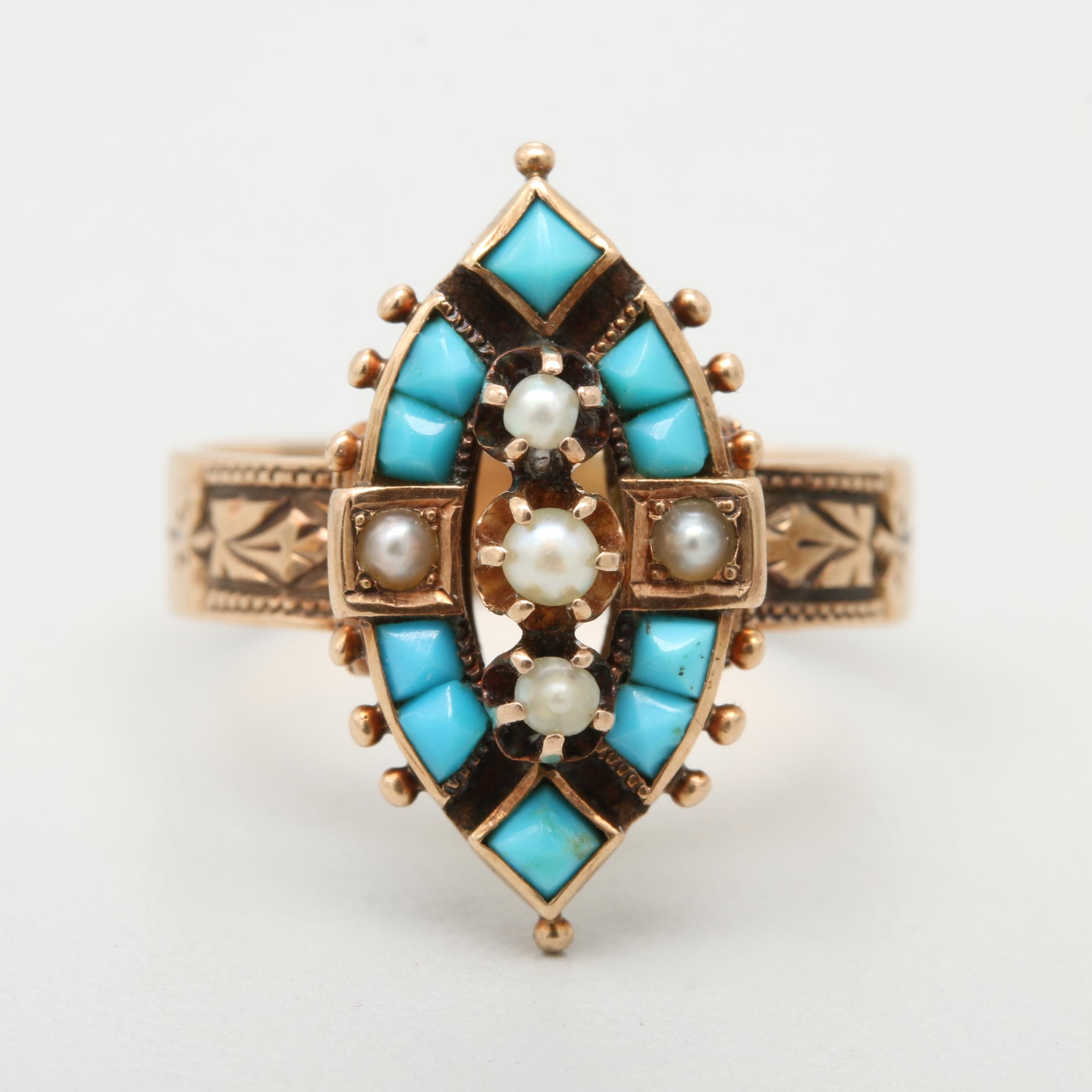 Victorian 14K Rose Gold Turquoise and Seed Pearl Ring