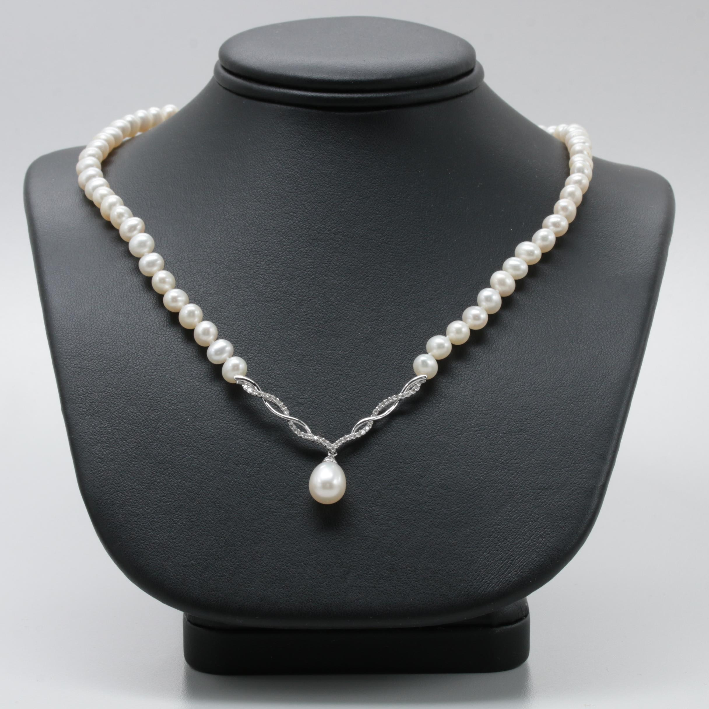 10K White Gold Cultured Pearl and Diamond Necklace