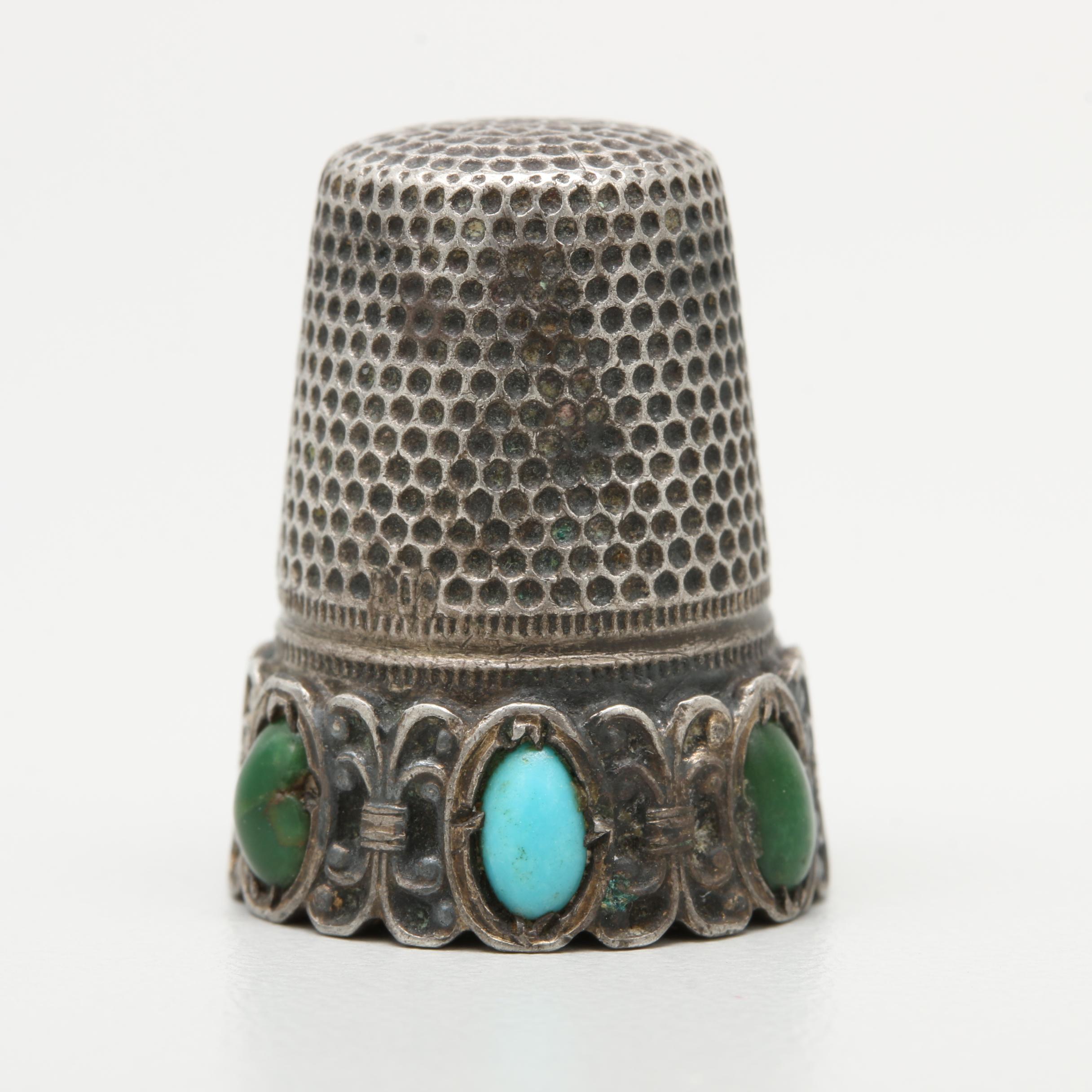 Vintage 800 Silver Turquoise Thimble