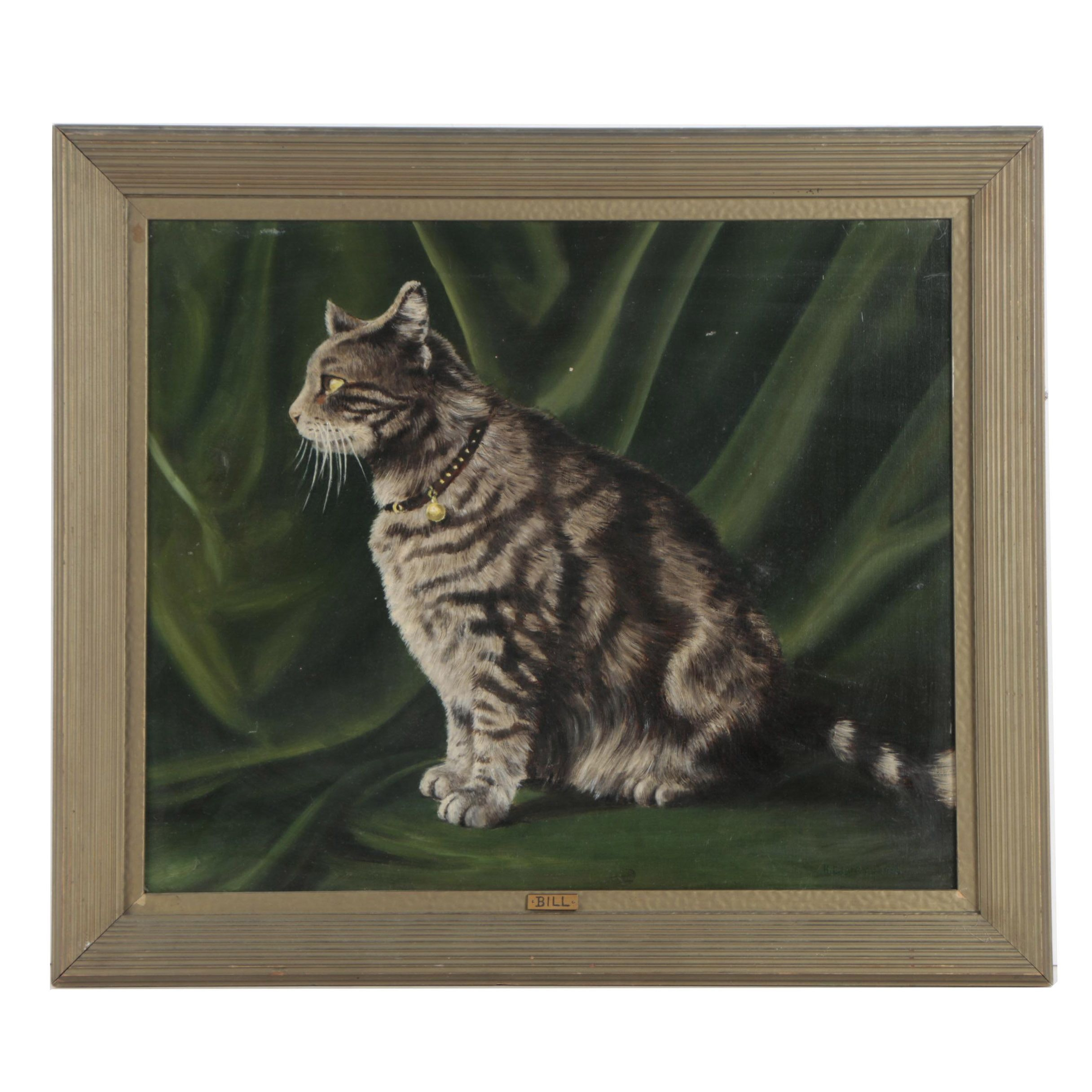 "H.E. Lucy Oil Painting of Cat ""Bill"""