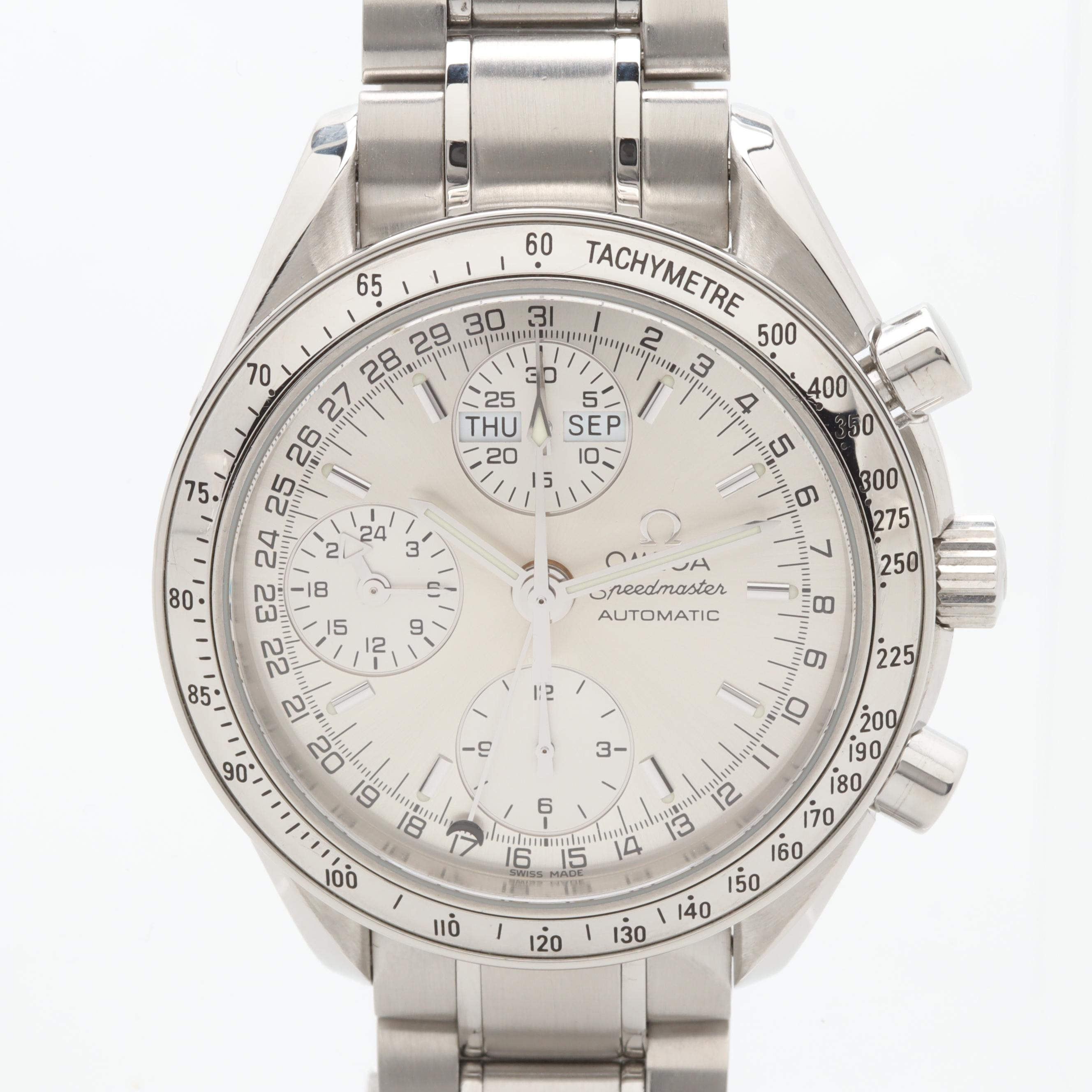 Omega Speedmaster Triple Calendar Stainless Steel Automatic Wristwatch